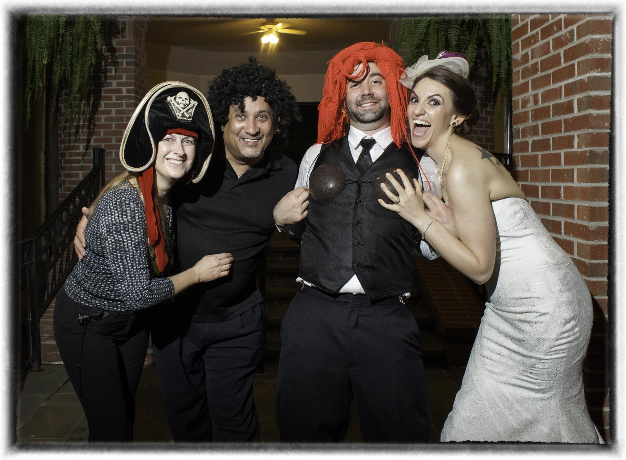 A Recent Wedding at the Doubletree Hotel in south Charlotte with Tim and Amanda Gaddy, fake hair and hats. we love to have fun