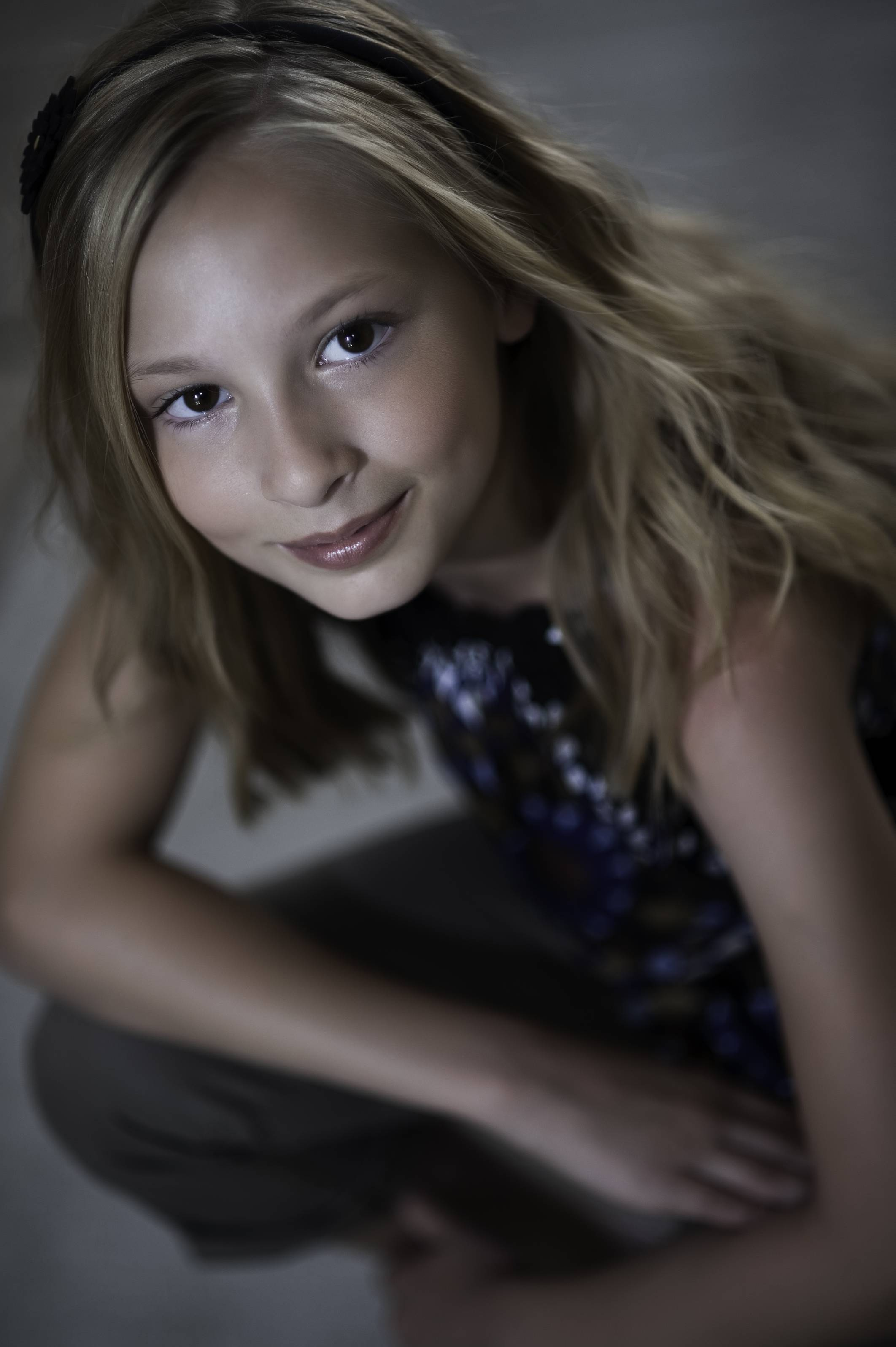 A child actress poses for a portrait