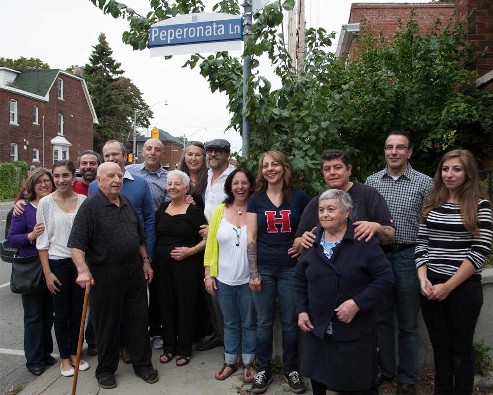 GALLÉ FAMILY AT THE UNVEILING OF PEPERONATA LANE IN 2013.