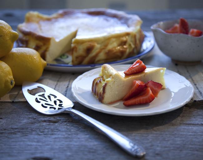 Flourless Lemon Ricotta Cake with Strawberries