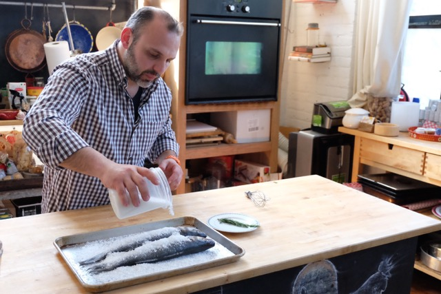 Making Sea Salt Branzino