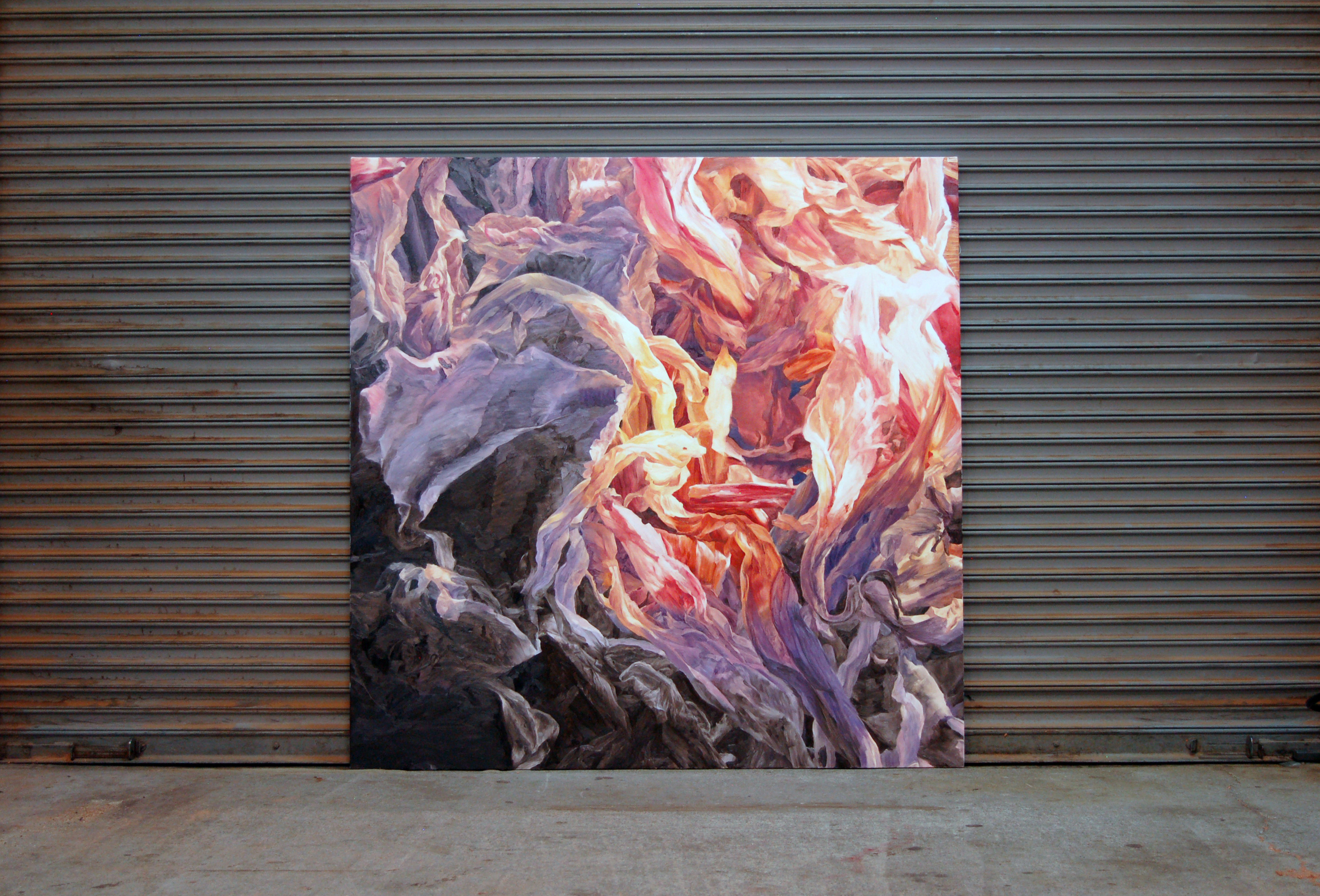 Fiery Volcanic Caldera   /  54 x 54 inch  /  Oil on Canvas