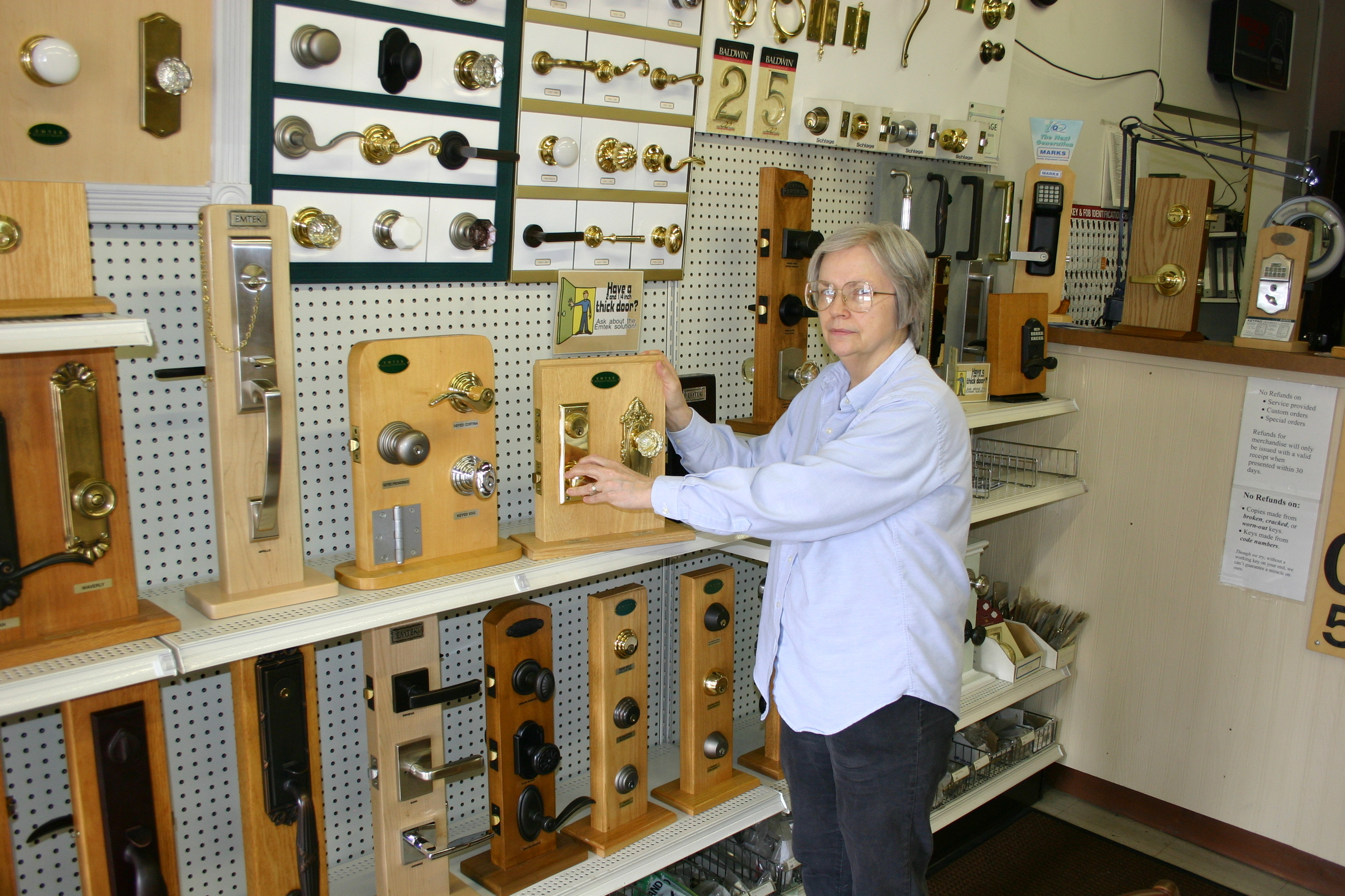 Kathy showing decorative hardware.JPG
