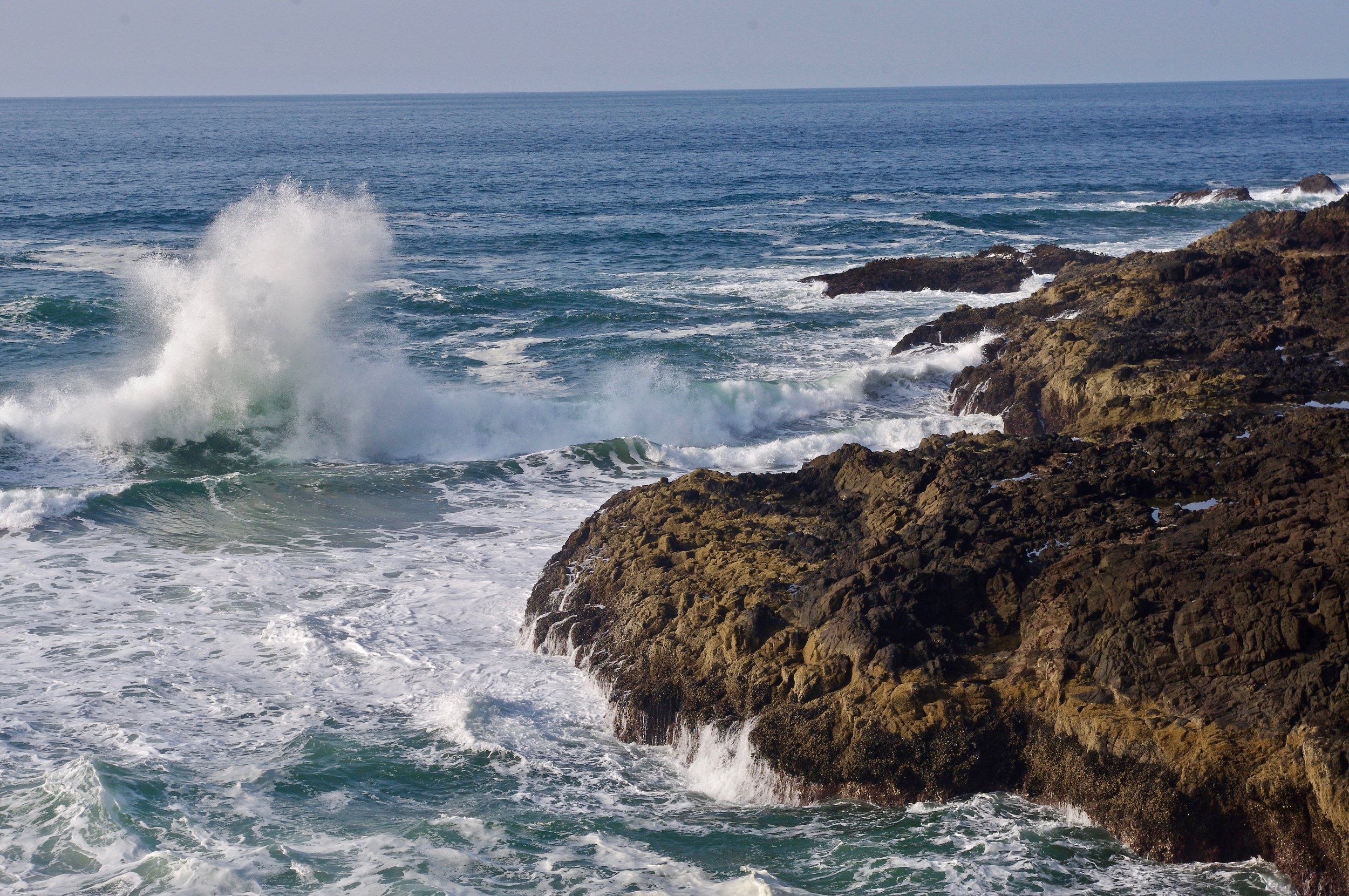It is hard to resist taking zillions of pictures of the scenic Oregon coast. So I made nom effort to resist, and here is yet another picture of waves and rocks.