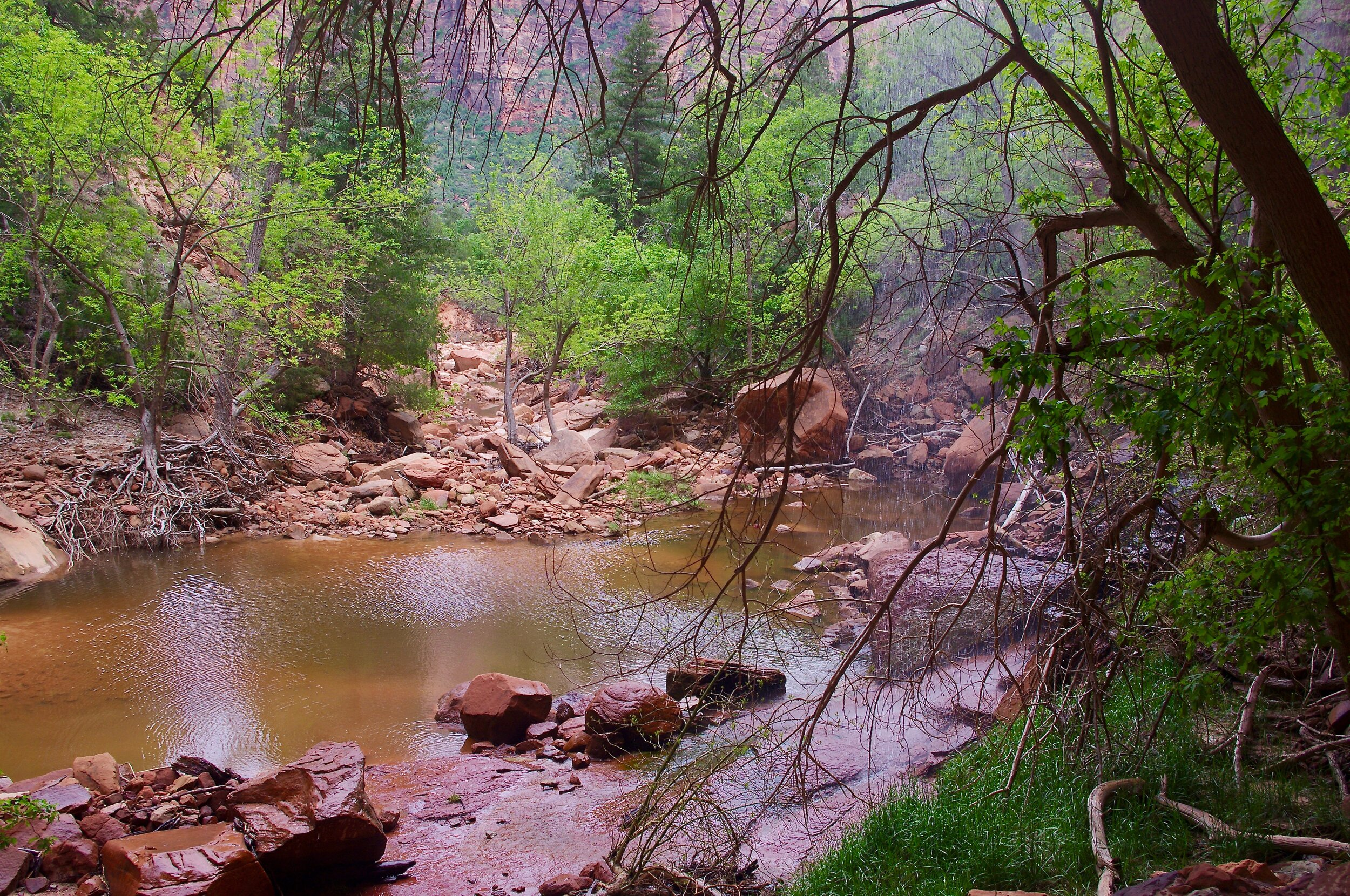 Here is Lower Emerald Pool. The stuff that looks like rain is actually waterfall. There are two of them falling from rocks that loom over the path so you end up walking behind them.