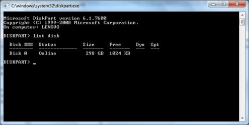 DISKPART tool in Windows Command Prompt.