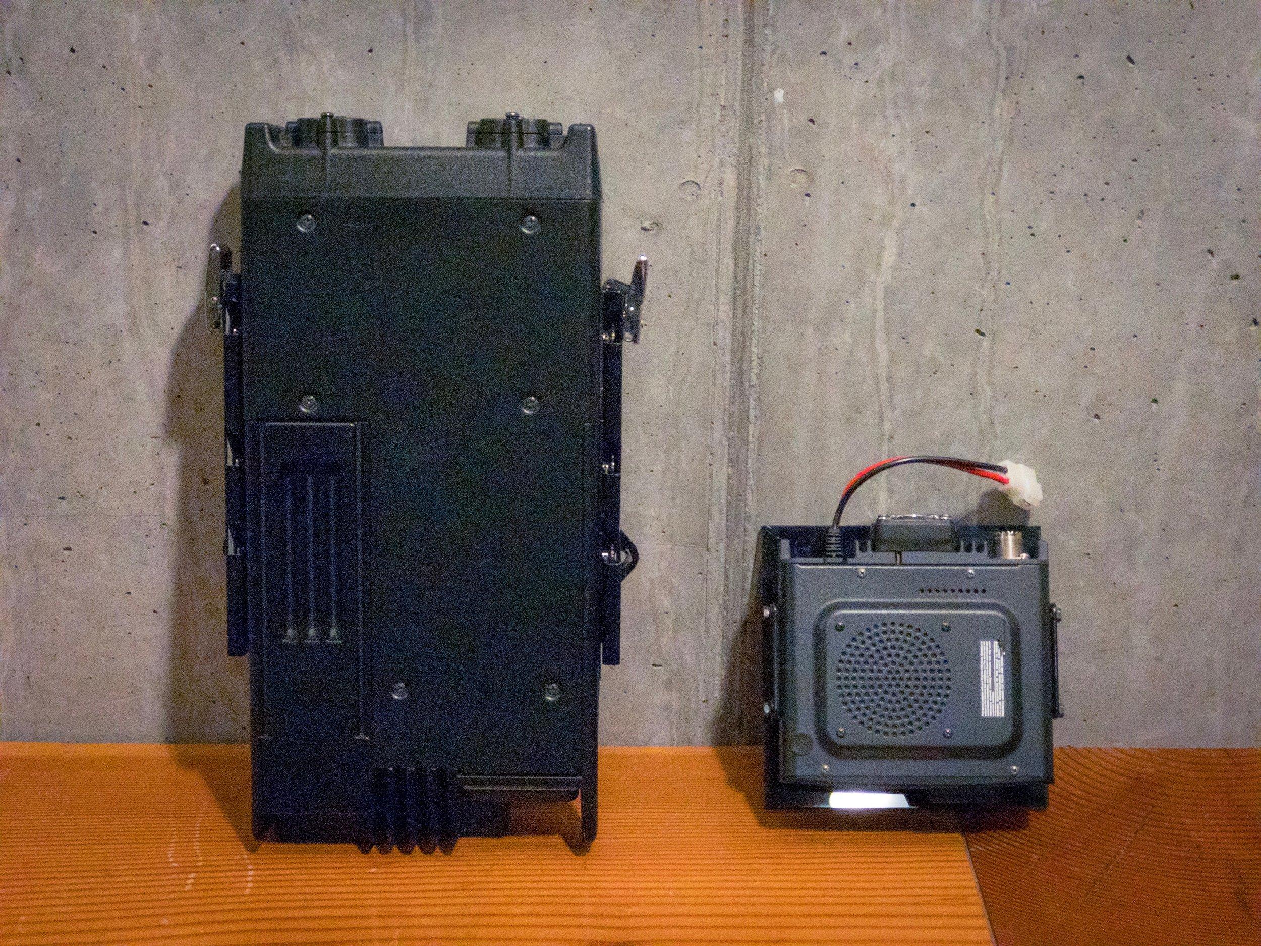 Size comparison between the base units of the Kenwood VHF radio, and Yaesu Ham radio, respectively.