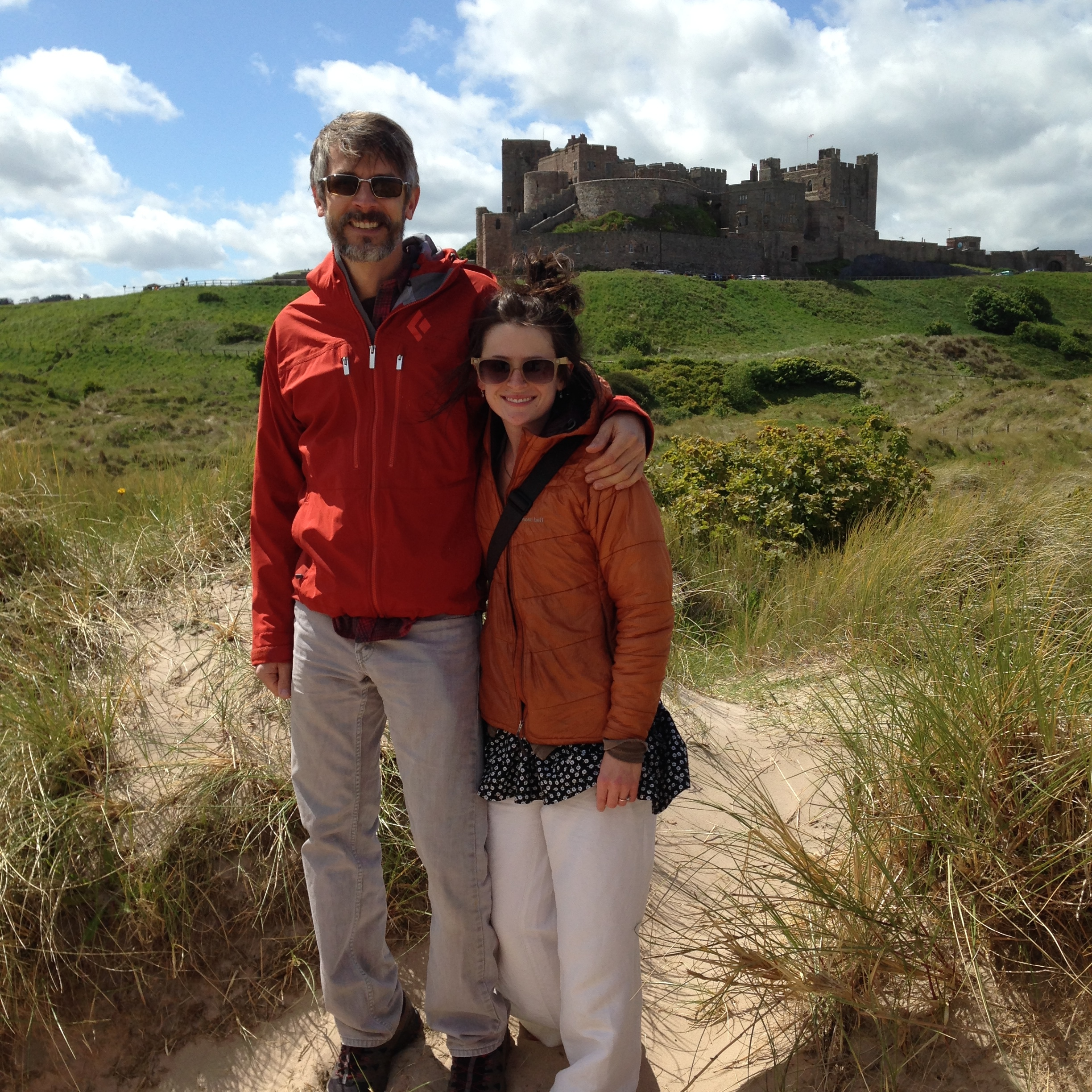 Peter and Lauren at a beachside castle in Northumberland