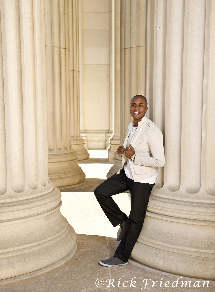 Rudy Dieudonne on the campus of MIT in Cambridge, MA, for Ebony Magazine.