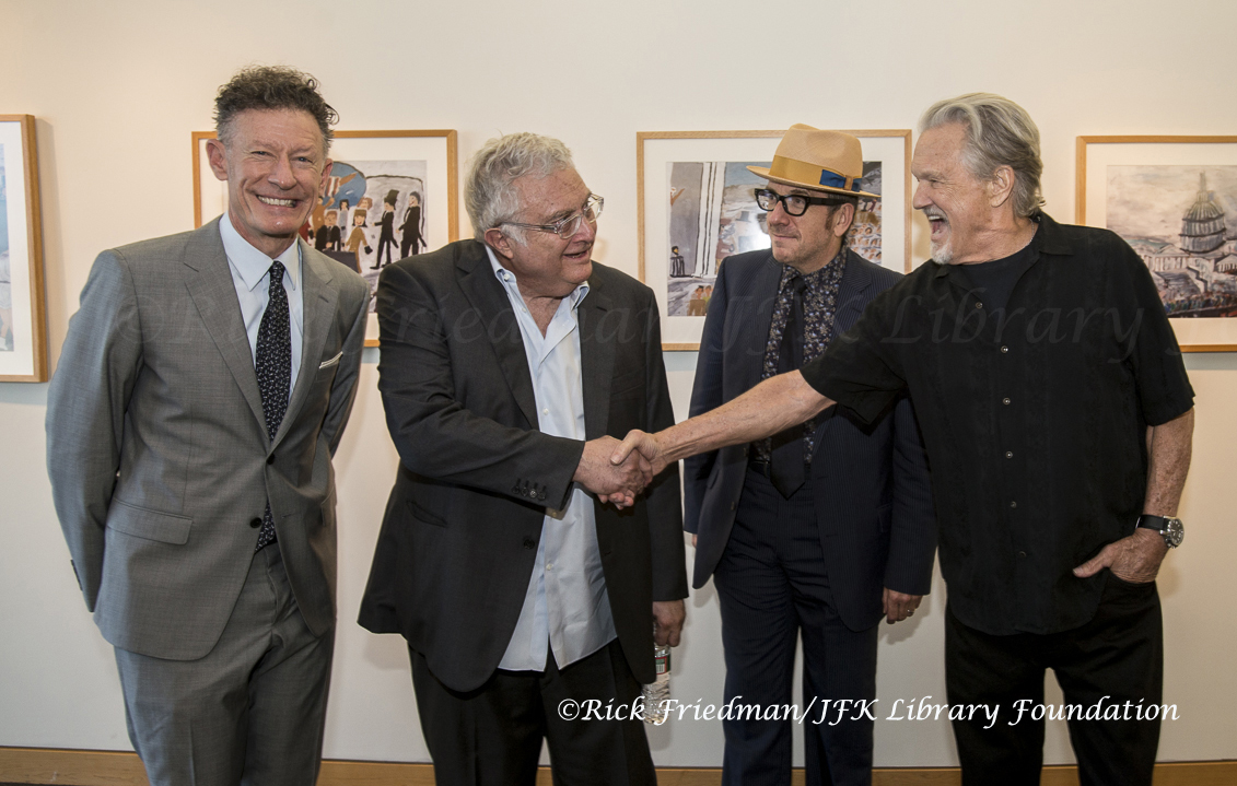 Lyle Lovett, Randy Newman Elvis Costello, and Kris Kristofferson at JFK Library in Boston, MA.