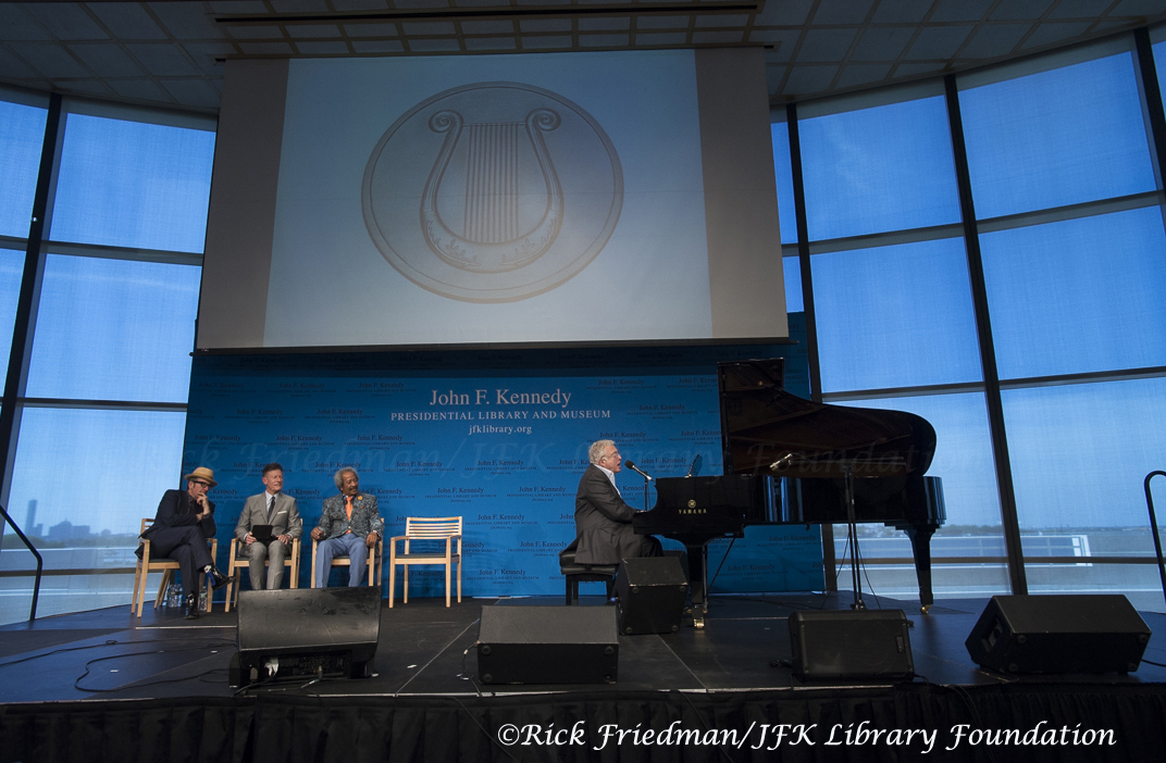 Randy Newman playing Piano during the PEN New England Awards with Elvis Costello, Lyle Lovett and Allen Toussain at JFK Library in Boston, MA.