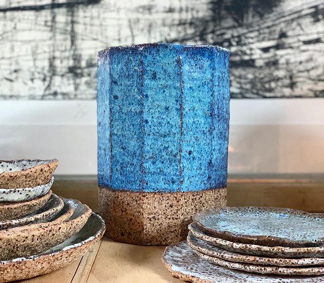 Hand built vase glazed in Sydney harbour blue . . . #handbuiltceramics #handbuiltpottery #australianceramics #sydneyharbourblue #stoneware #stonewareceramics