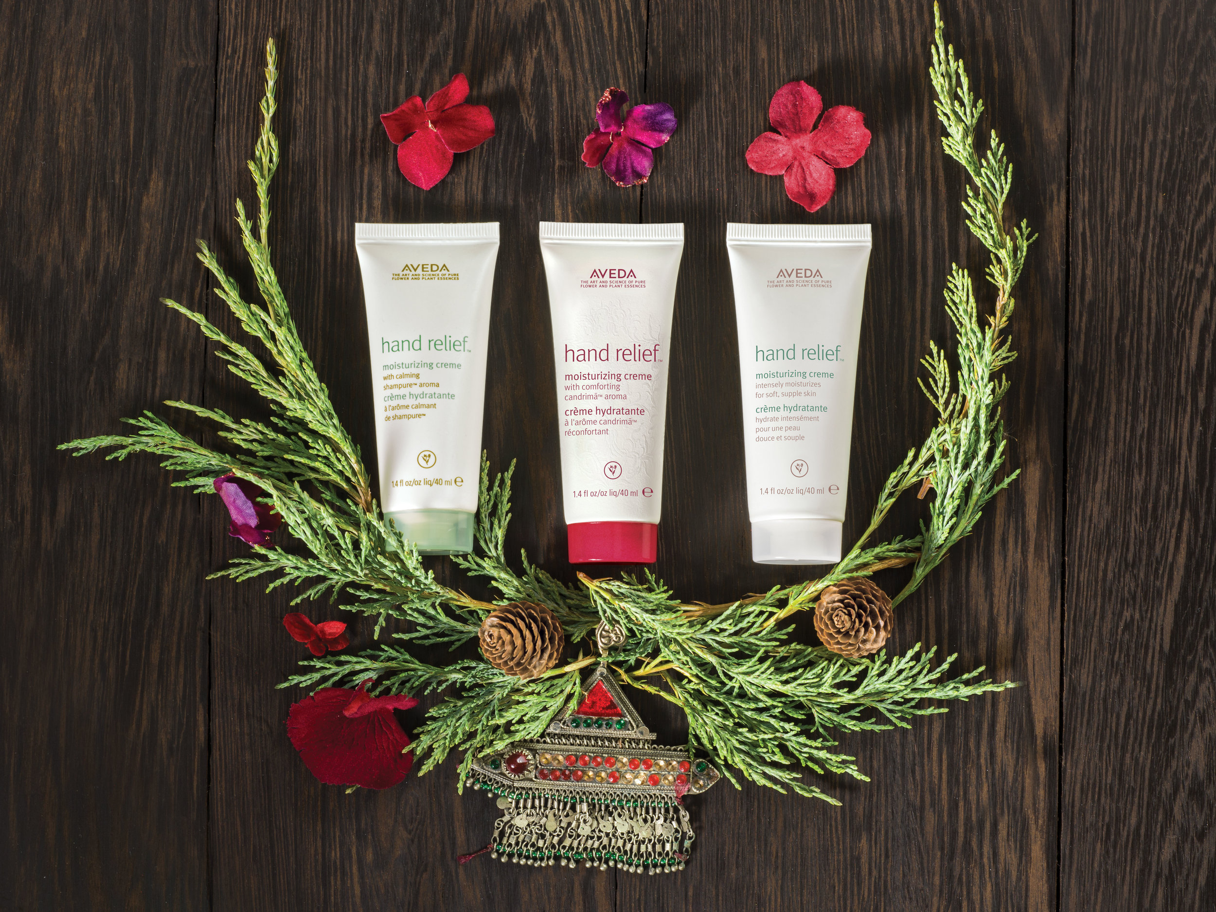 A Gift of Renewal for Your Journey: $28.50  hand relief™ moisturizing cremes in shampure,™ candrimā™ and original aromas, 40 ml each