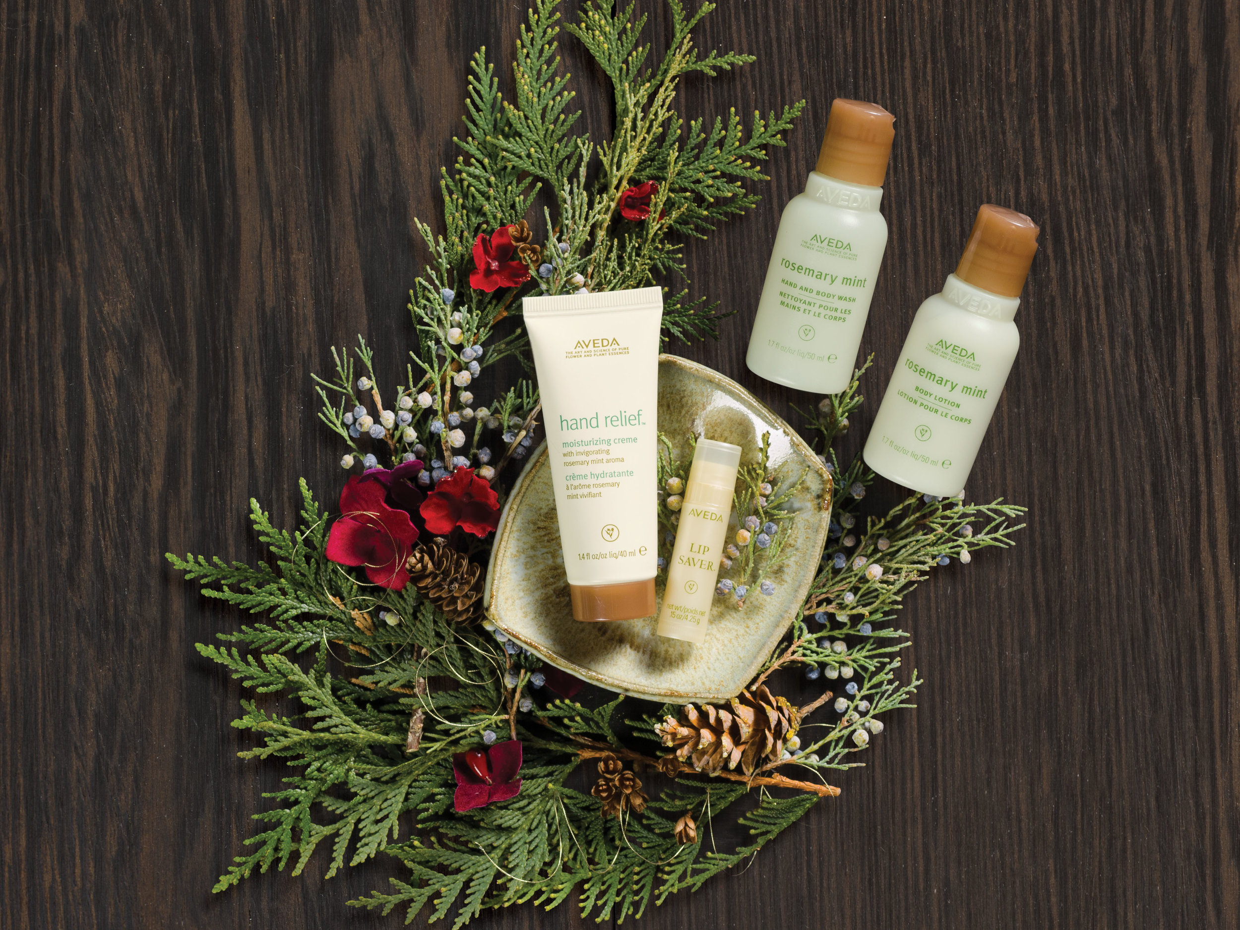 A Gift of Refresh-Mint for Your Journey: $35  rosemary mint hand and body wash, 50 ml  rosemary mint body lotion, 50 ml  hand relief™ moisturizing creme with rosemary mint aroma, 40 ml  ip saver™ 4.25 g