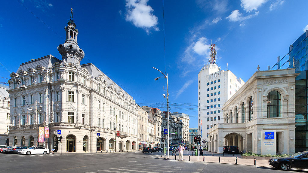 Victory Avenue  (  Calea Victoriei  ), a major avenue in central Bucharest, Romania (Source: Wikipedia,  Mihai Petre )