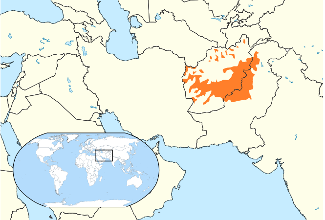 Pashto is primarily spoken in Afghanistan and Pakistan. CThe above map of Pashto-speaking regions (orange) is provided courtesy of Wikipedia.