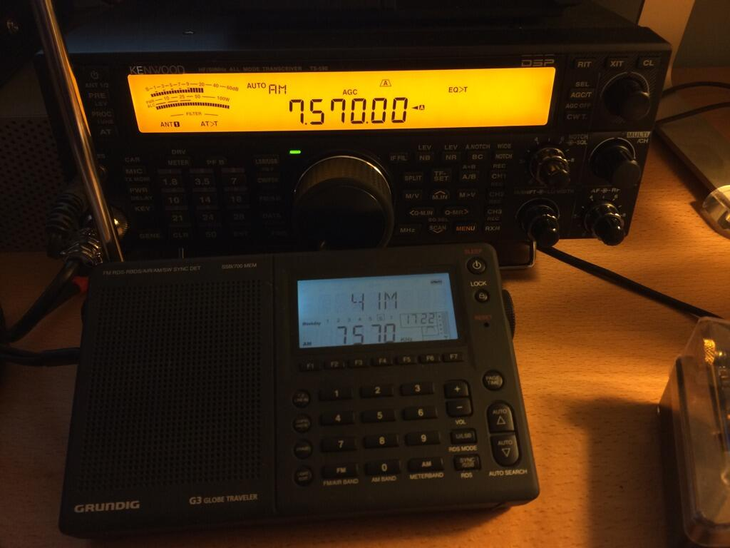 Matthew Williams took this photo of his TS-590S and Grundig G3 while recording the Shortwave Shindig.