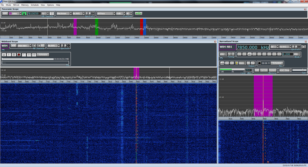 I was able to monitor four different time station frequencies simultaneously on the TitanSDR Pro. (click to enlarge)