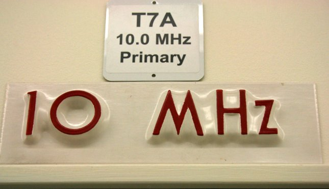 The sign above WWV's primary 10 MHz transmitter (2014).