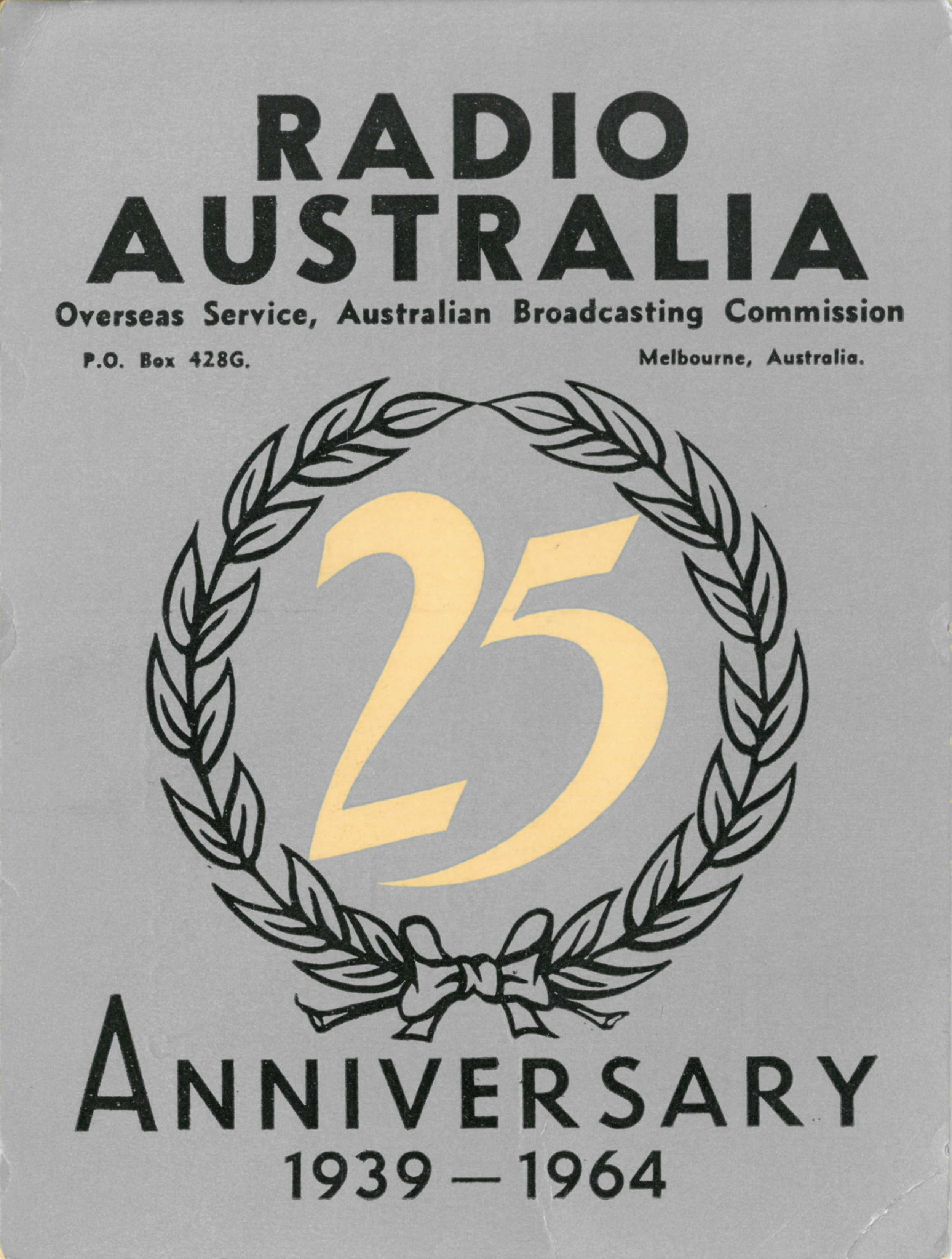 The front of a Radio Australia QSL card received for a report on reception in Toronto of a transmission on 11840 kHz at 19:30 UTC on 23 December 1964.