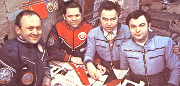 The Soyuz-26 and Soyuz-28 crews aboard the Salyut-6 station
