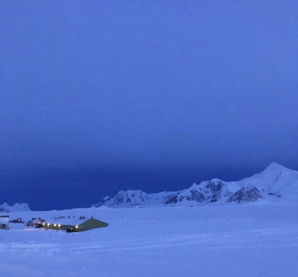 Midday at Rothera Research Station in midwinter. Credit: Klara Weaver, Rothera Research Station.