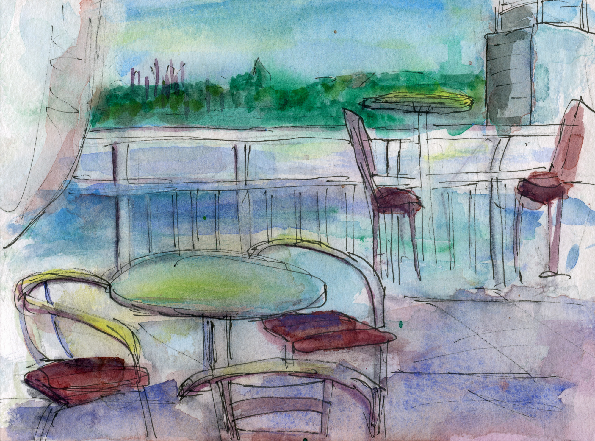 As Evening Settles In (Inspired by the view of the Harbourfront from the pool deck at the Radisson Hotel)