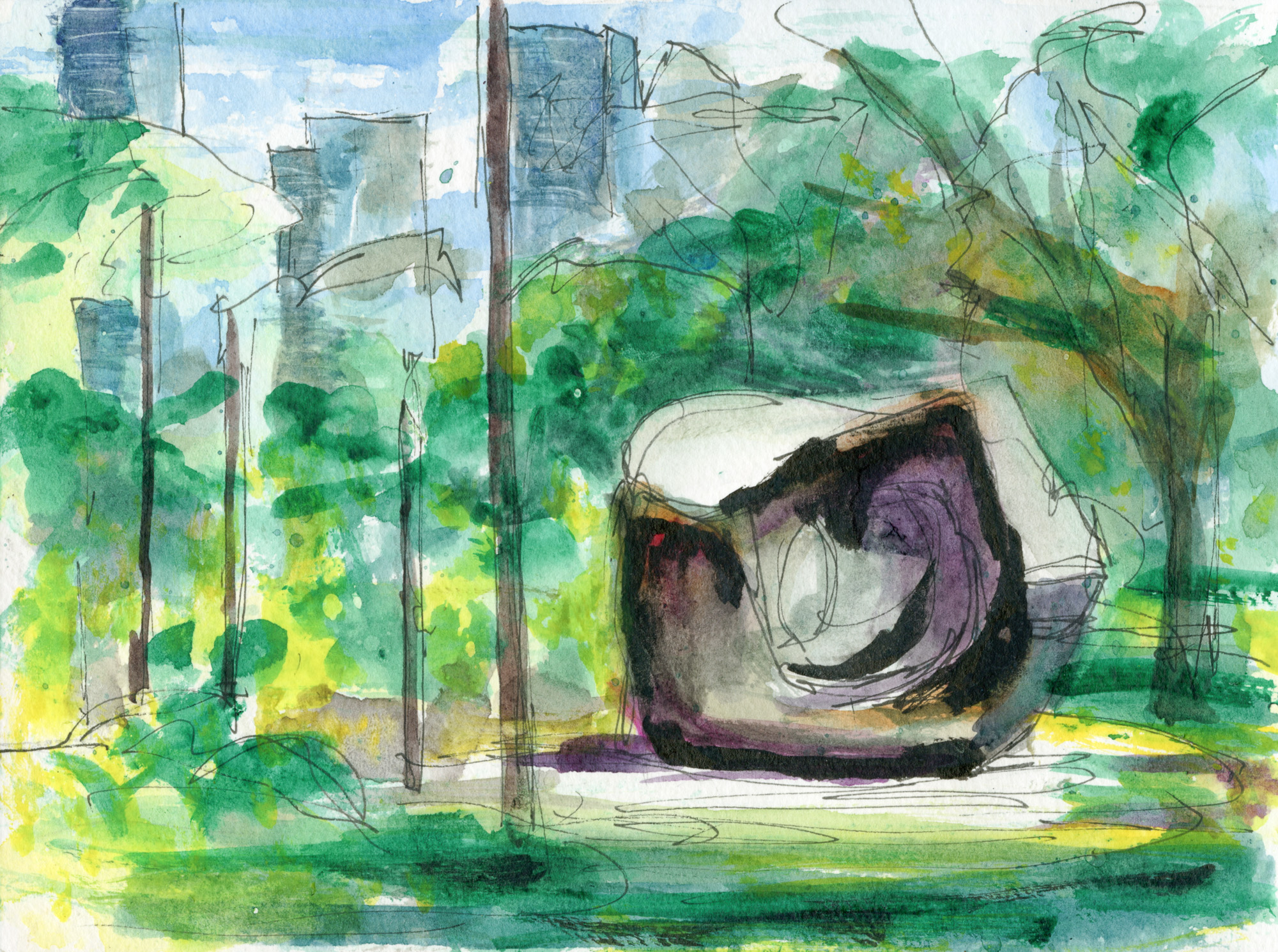 "View from a Bench in Grange Park (Inspired by ""Large Two Forms"" bronze sculpture by Henry Moore)"