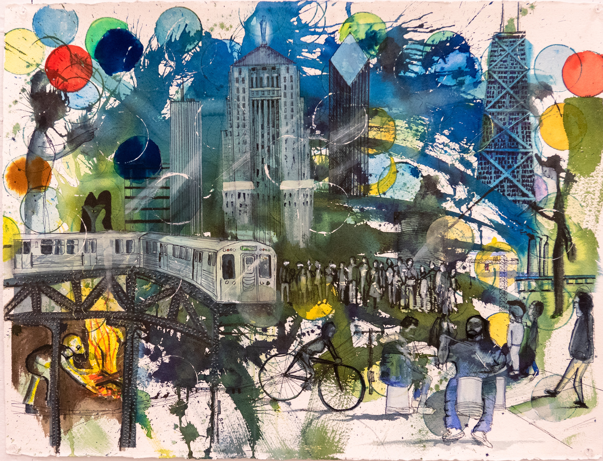 """And maybe it's a poet's town"" [Nelson Algren, ""Chicago on the Make"" 1951]  Watercolor, ink, and marker on Arches 300 lb. paper. 30"" X 22"""
