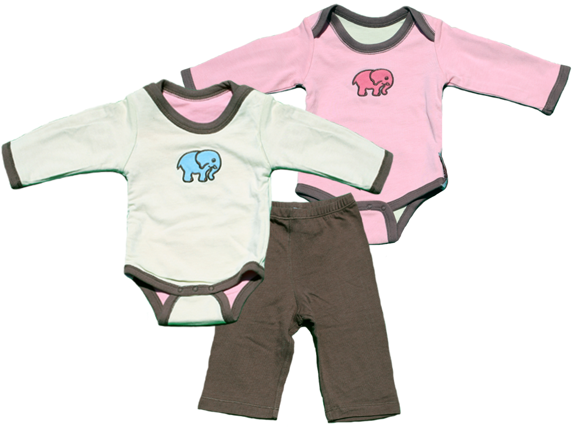 TURNOVERS 2-PIECE SET. Elephant APPLIQUE.  Gender Neutral REVERSIBLE BODYSUIT & MATCHING PANTS. Color: PetaL/Mint/PINECONE