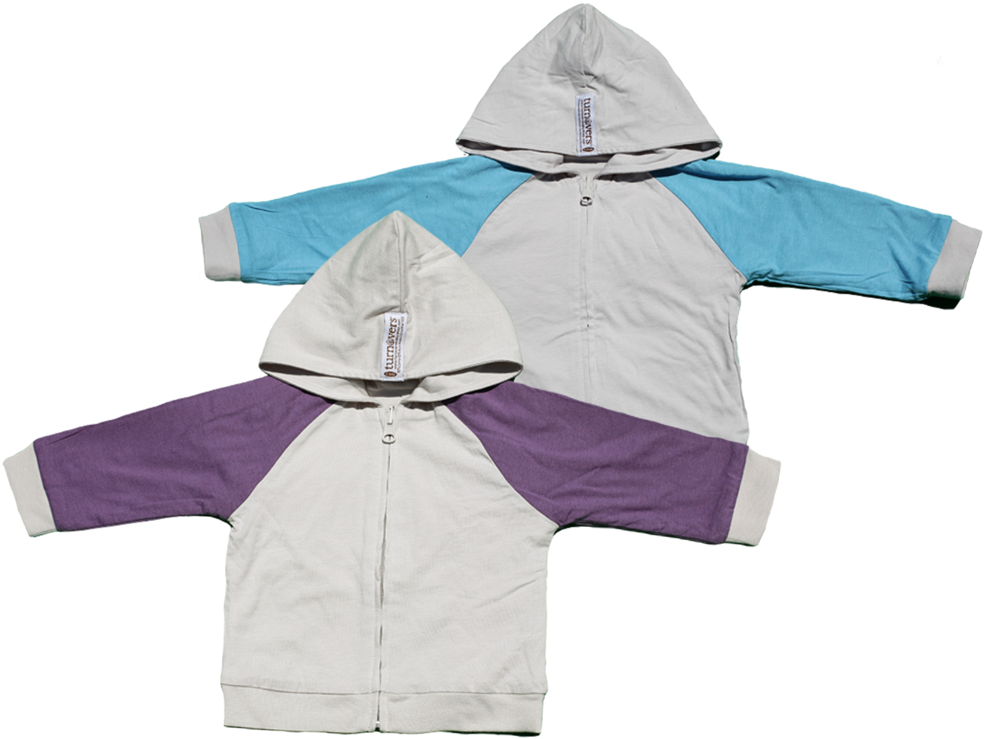 TURNOVERS REVERSIBLE GENDER NEUTRAL ZIP HOODIE.  COLOR: Cloud WITH Grape/Raindrop Raglan SLEEVES. Signature Logo Embroidery in the back.