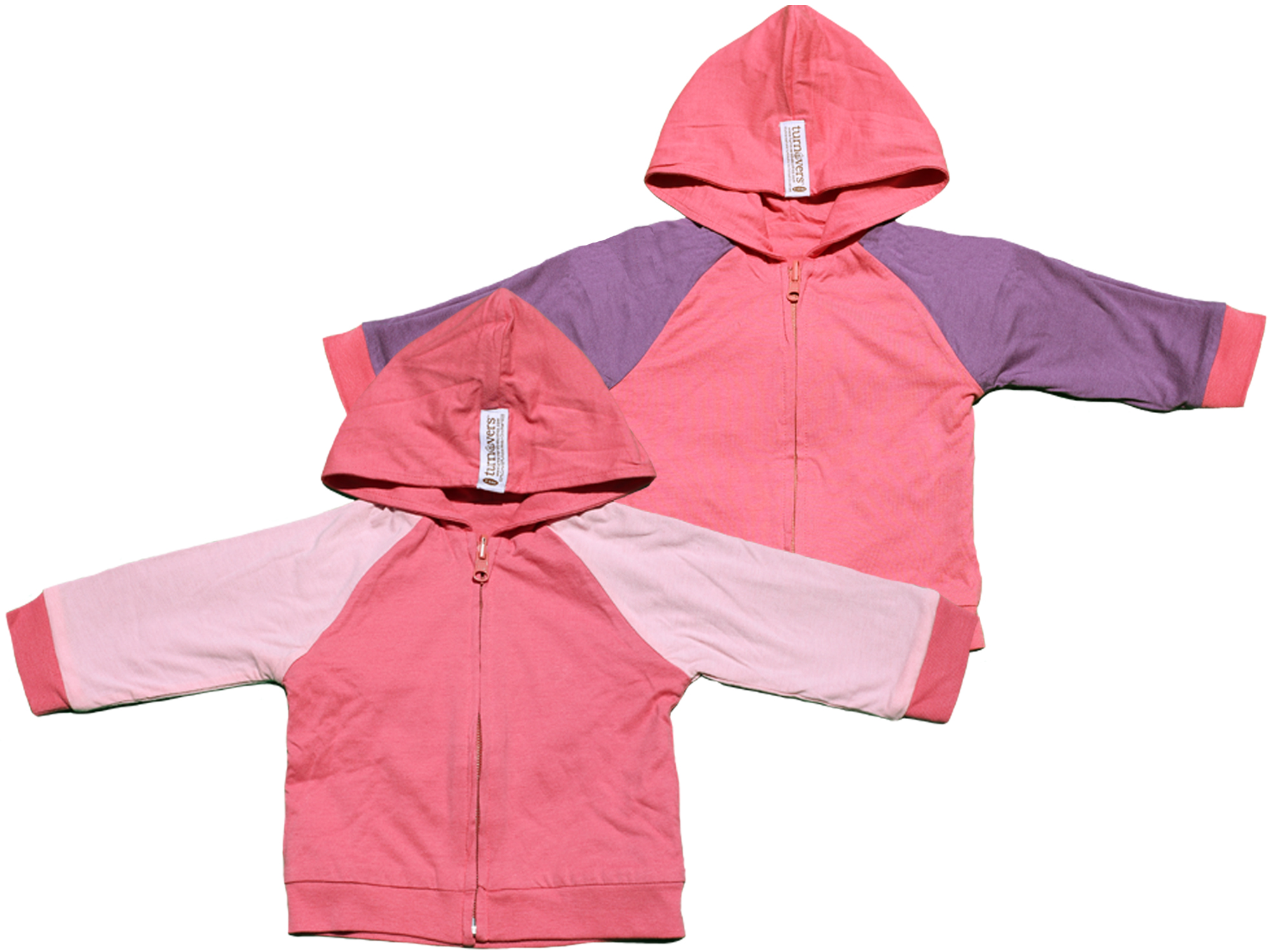 TURNOVERS REVERSIBLE Girls ZIP HOODIE.  COLOR: Rosebud WITH Petal/Grape Raglan SLEEVES. Signature Logo Embroidery in the back.