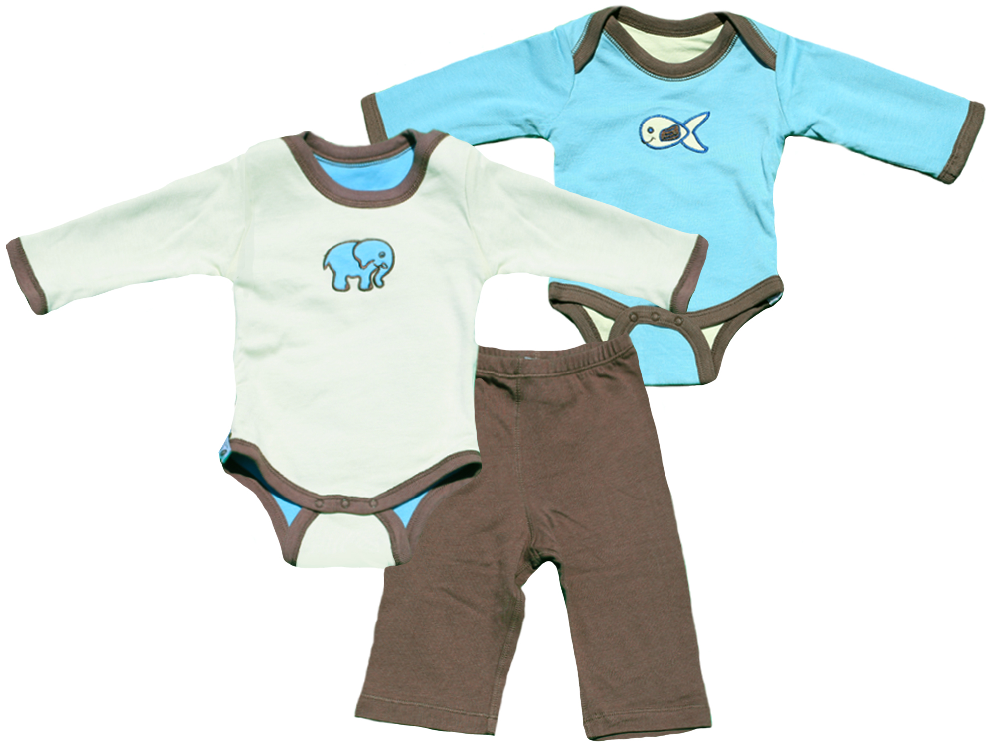 TURNOVERS 2-PIECE SET. ELEPHANT/FISH APPLIQUE.  Boys REVERSIBLE BODYSUIT & MATCHING PANTS. COLOR: Mint/Raindrop/Pinecone