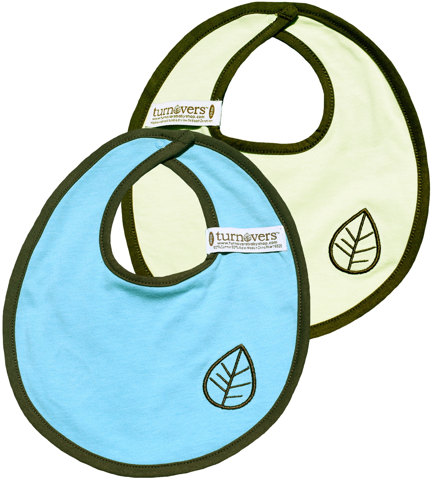 TURNOVERS REVERSIBLE Boys Snap BIB.  Featuring LEAF EMBROIDERY. COLOR: MINT/raindrop/PINECONE