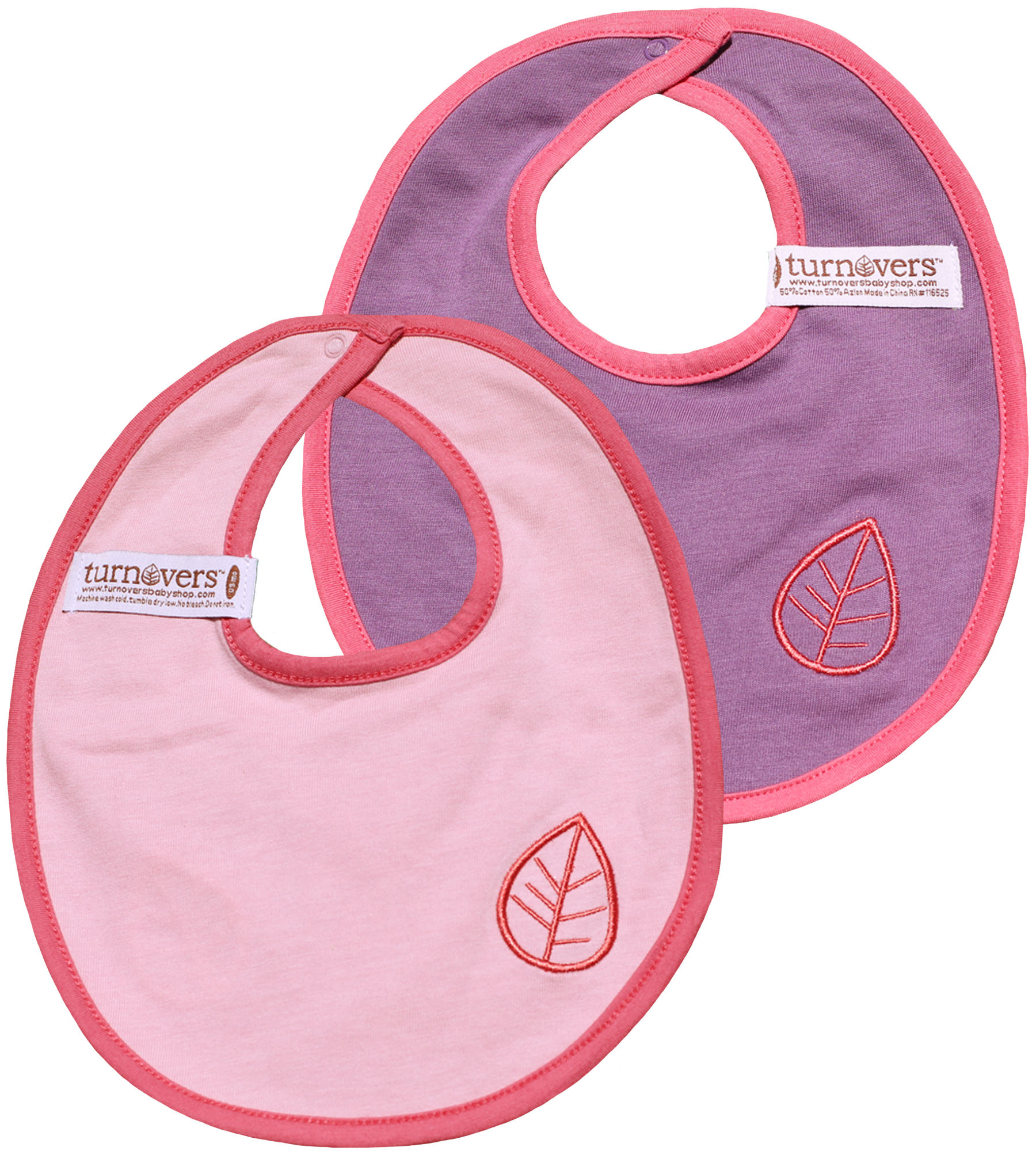 TURNOVERS REVERSIBLE Girls Snap BIB.  Featuring LEAF EMBROIDERY. COLOR: grape/petal/rosebud