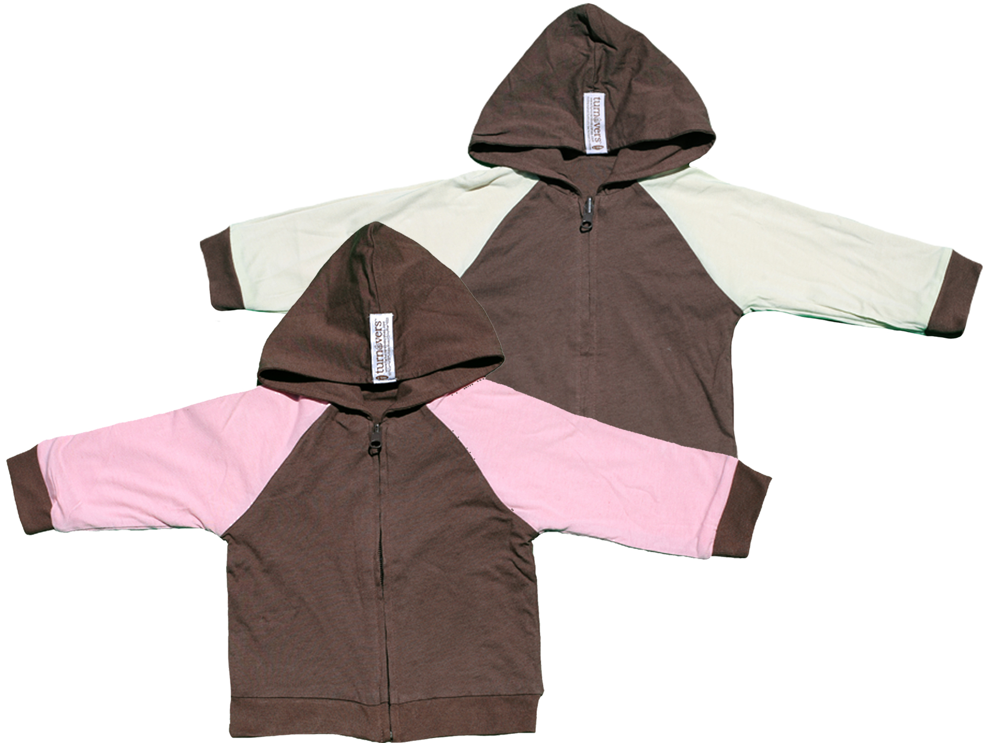 TURNOVERS Gender Neutral Baby Clothing REVERSIBLE ZIP HOODIE.  COLOR: PINECONE with Petal/MINT Raglan SLEEVES