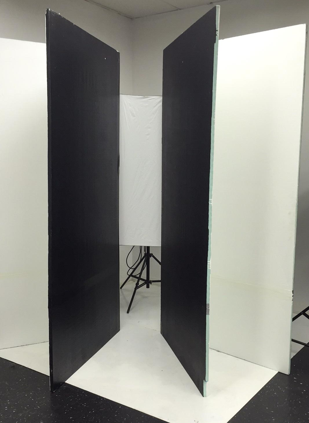 Basic v-flat & light setup. My model stands inside the v-flats against the light.
