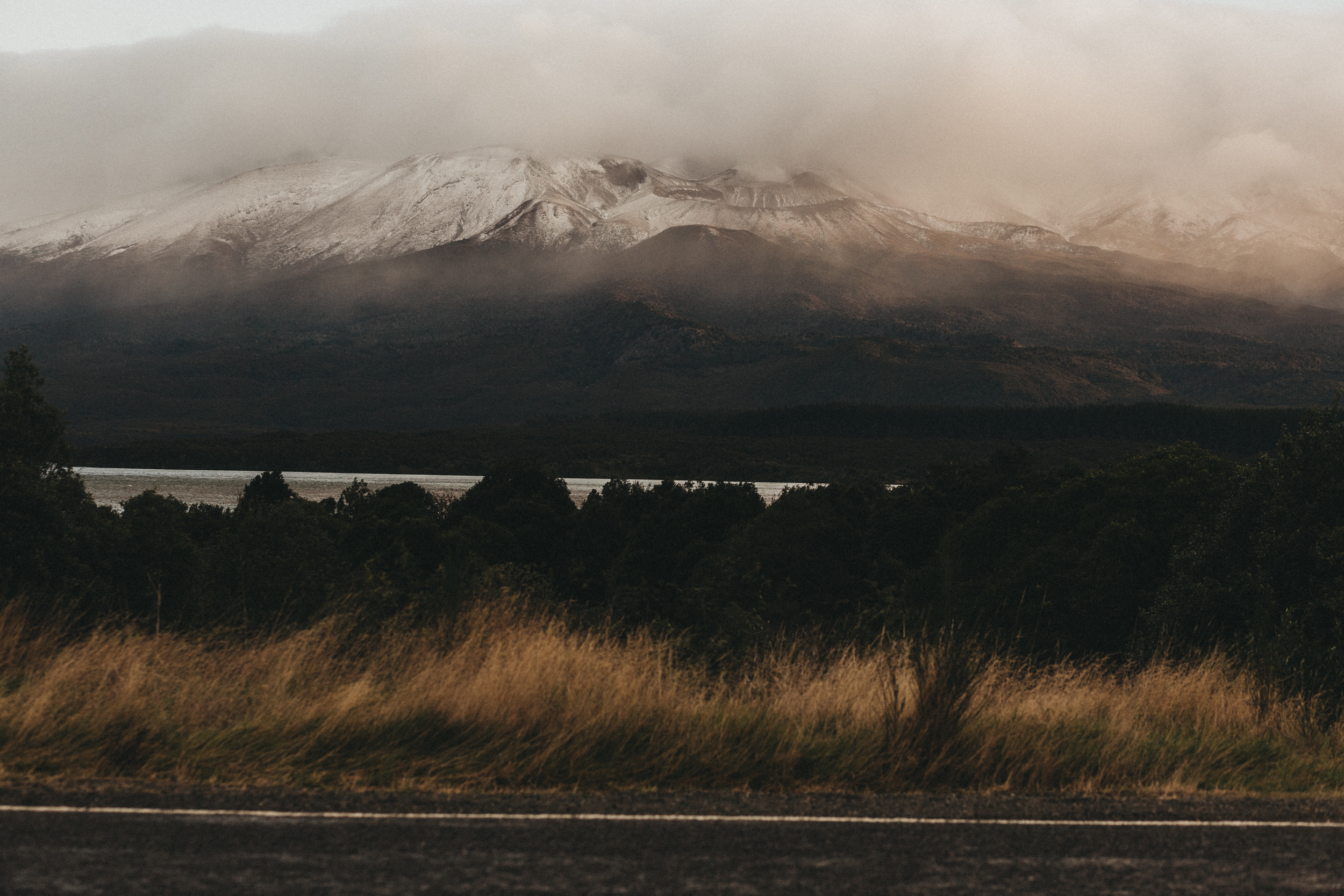 Day Two: views from the car as we drive past the volcanic mountains and Lake Rotoaira at sunset.
