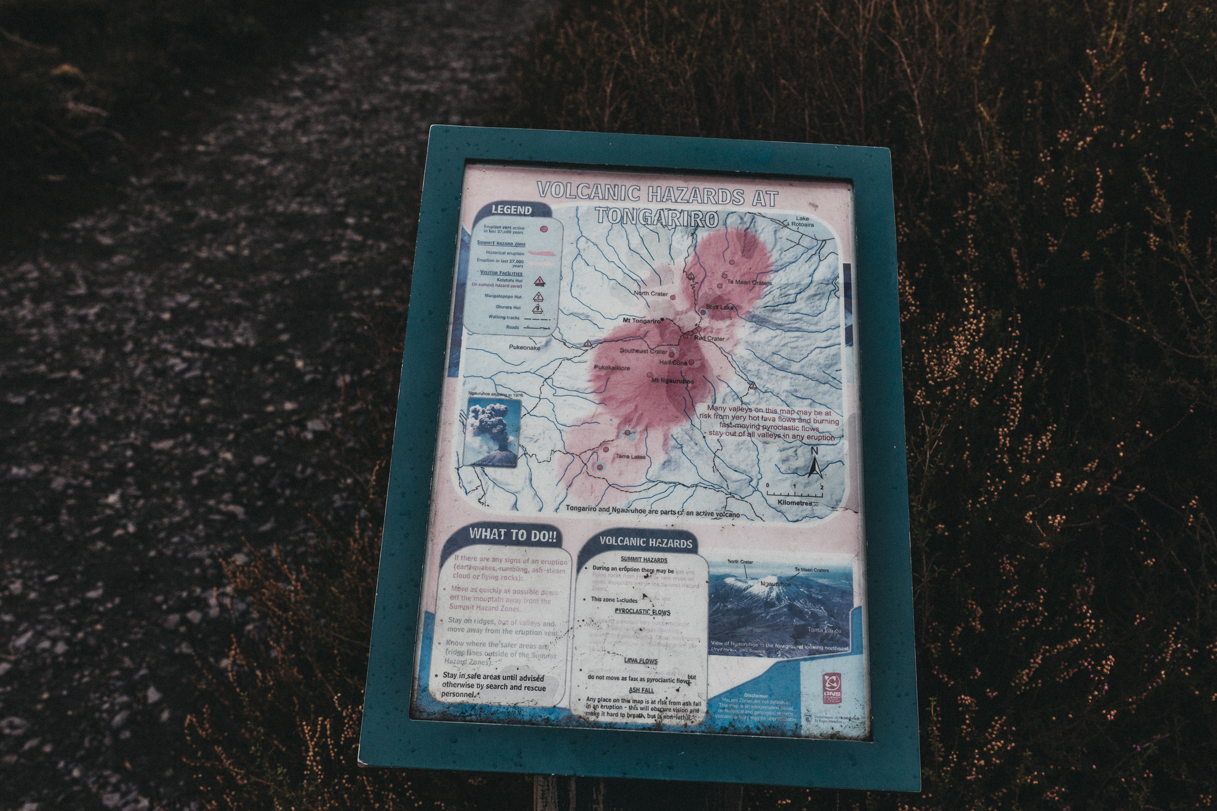 Day Four: map warning us of the dangers of being in an active volcanic zone, and what to do if there is an eruption (the last major eruption was 2012).