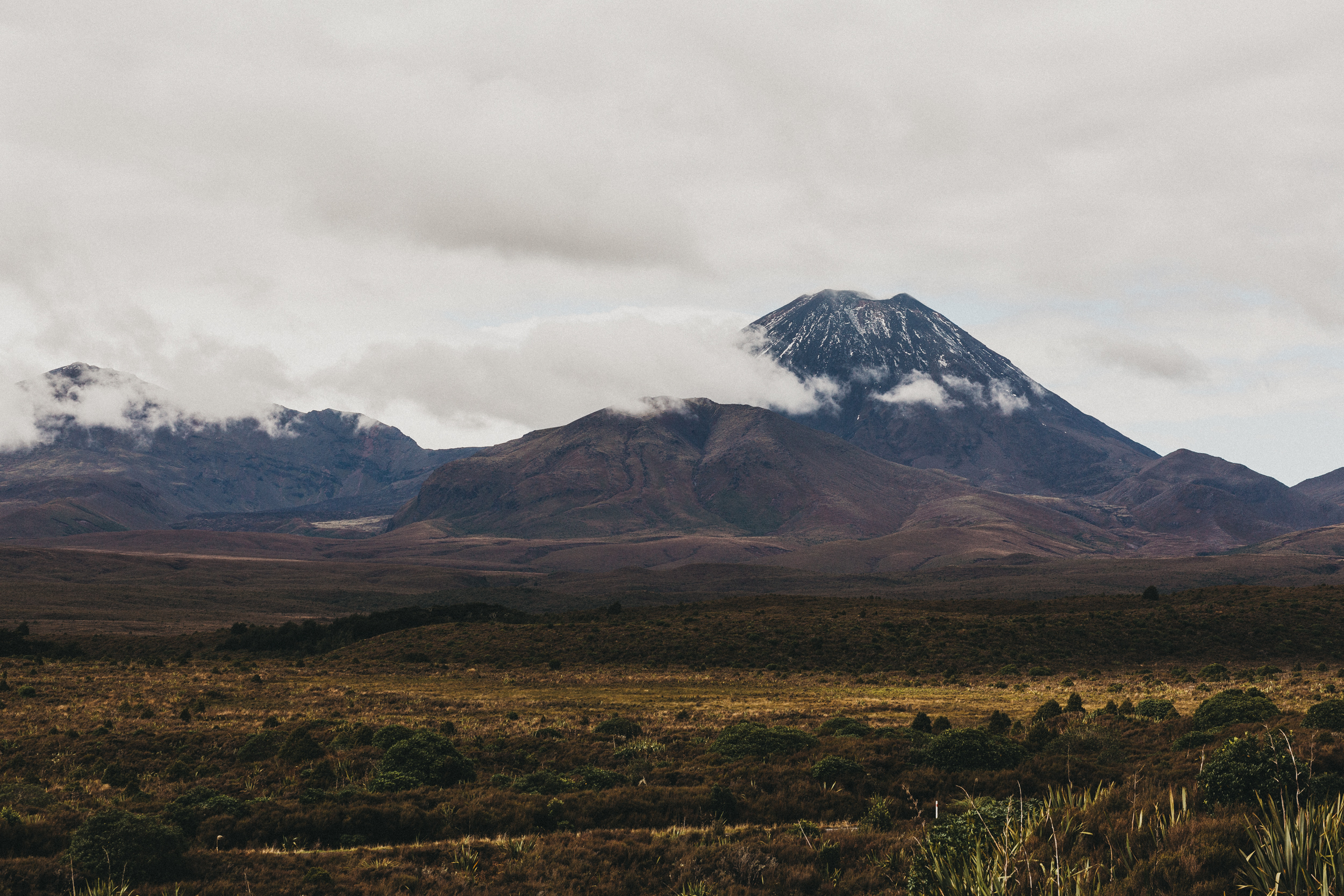 Day Five: driving past the volcanos that we were walking around with no visibility the day before!
