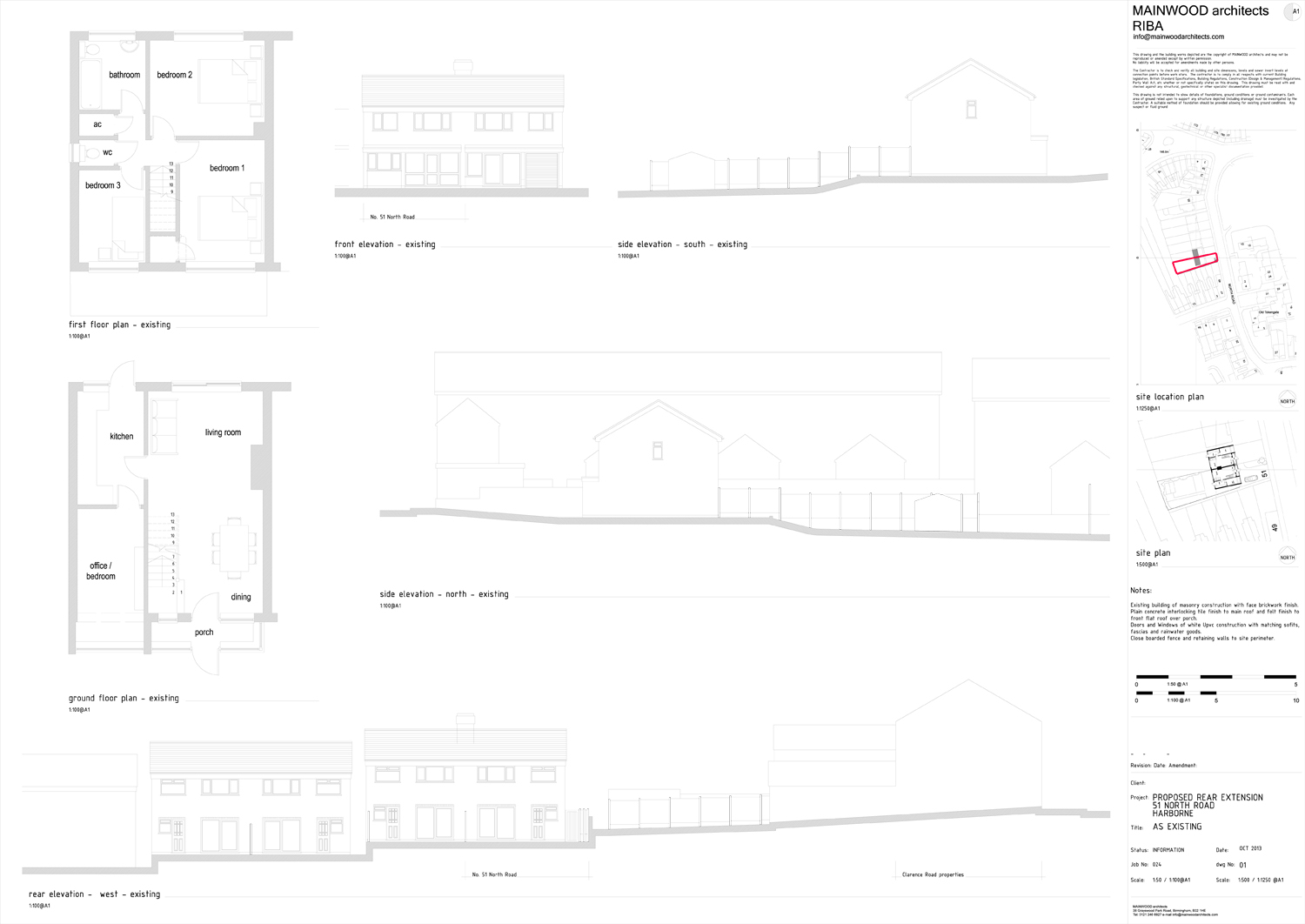 Plans and elevation as existing North Road