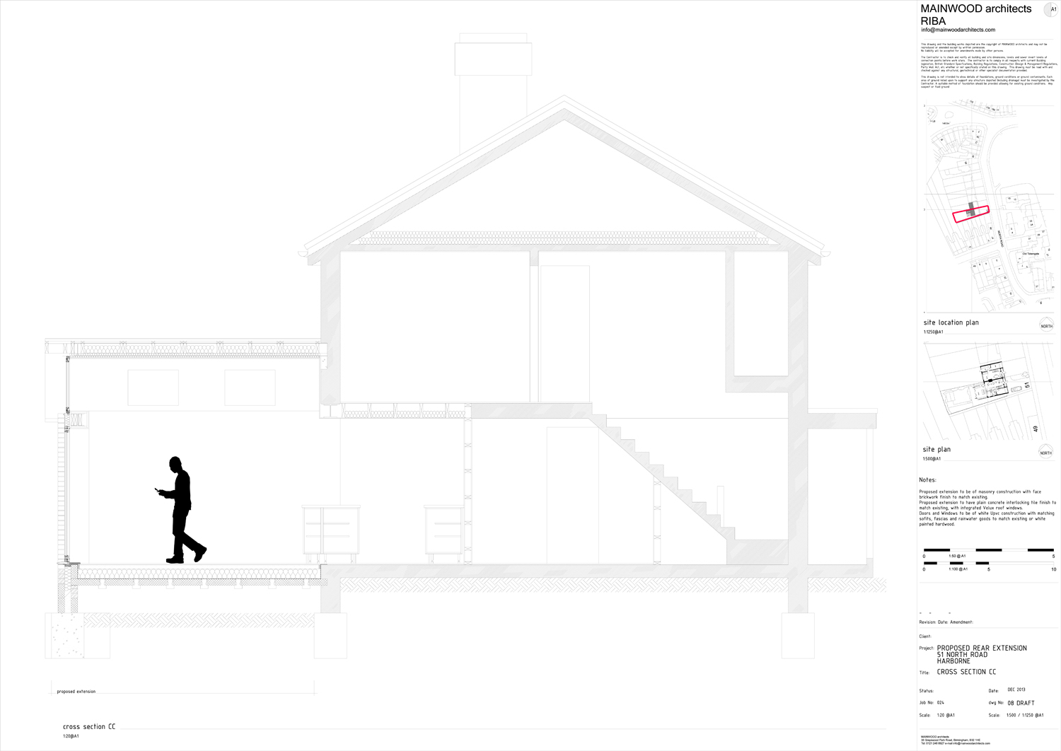 Section through rear extension