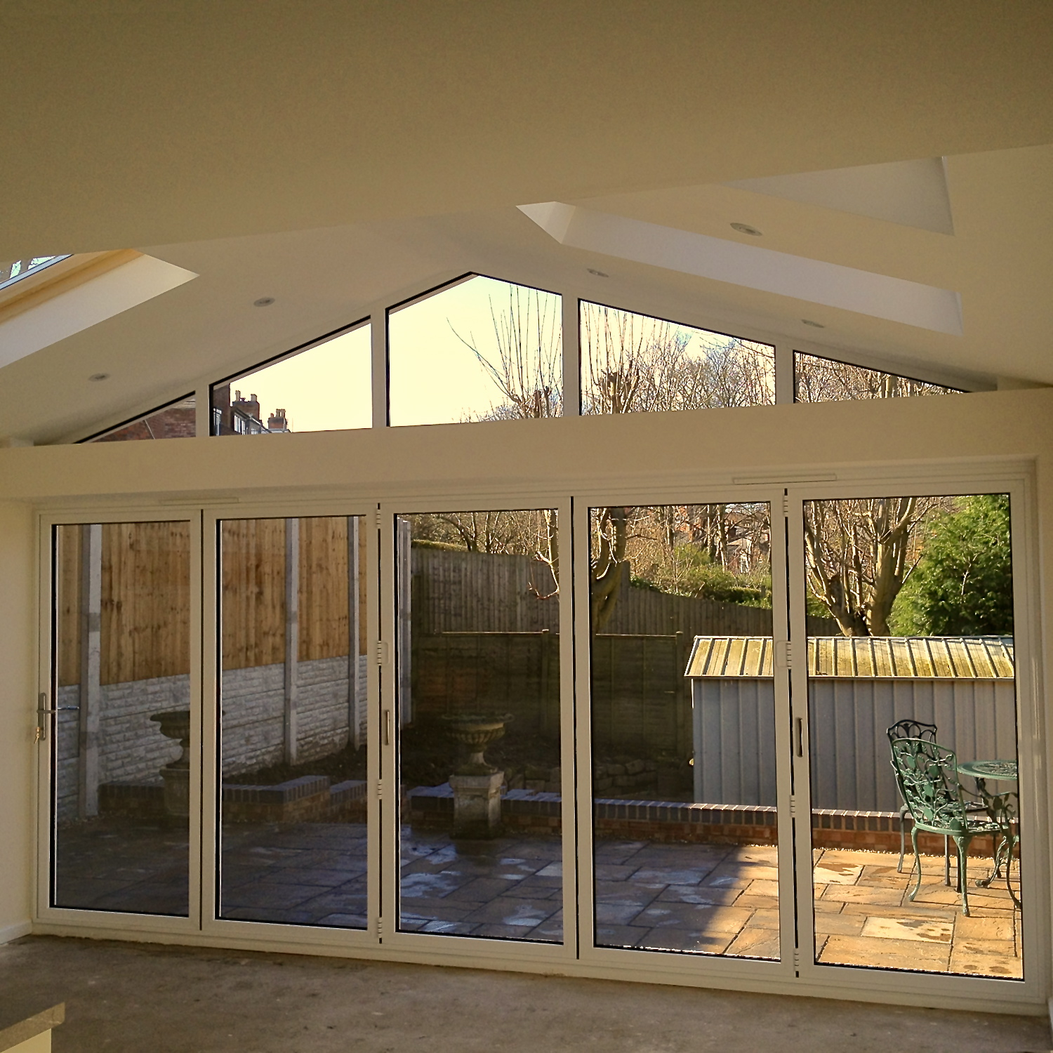 Internal view of external concertina doors with apex glazed roof