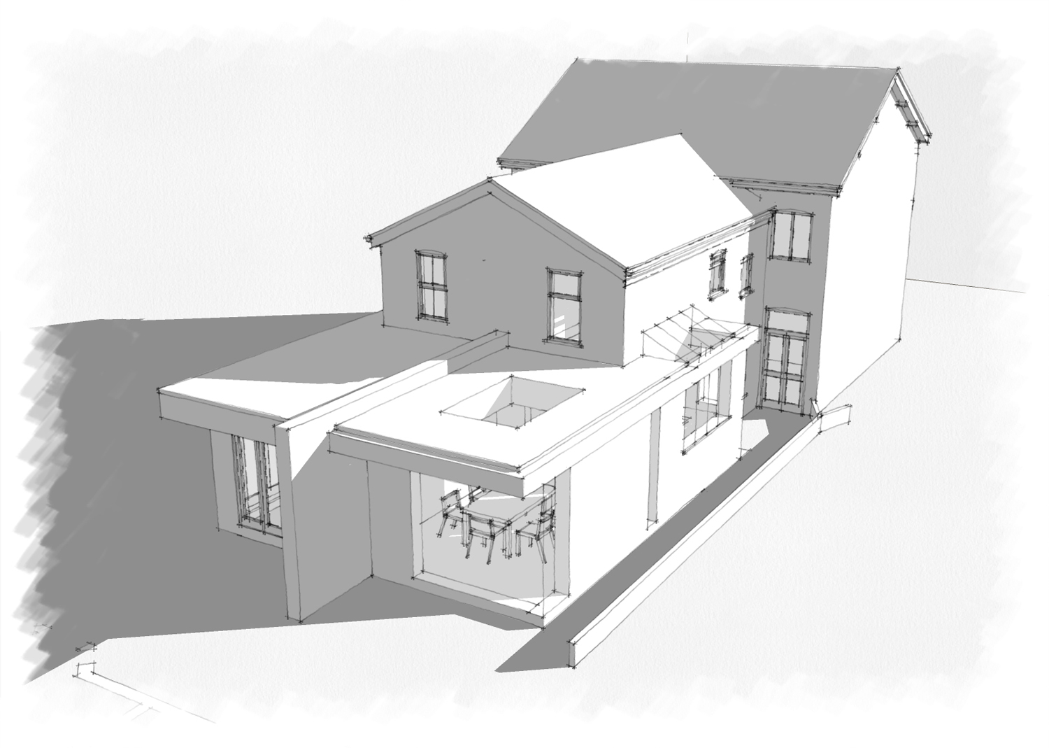 Kitchen extension with flat roof