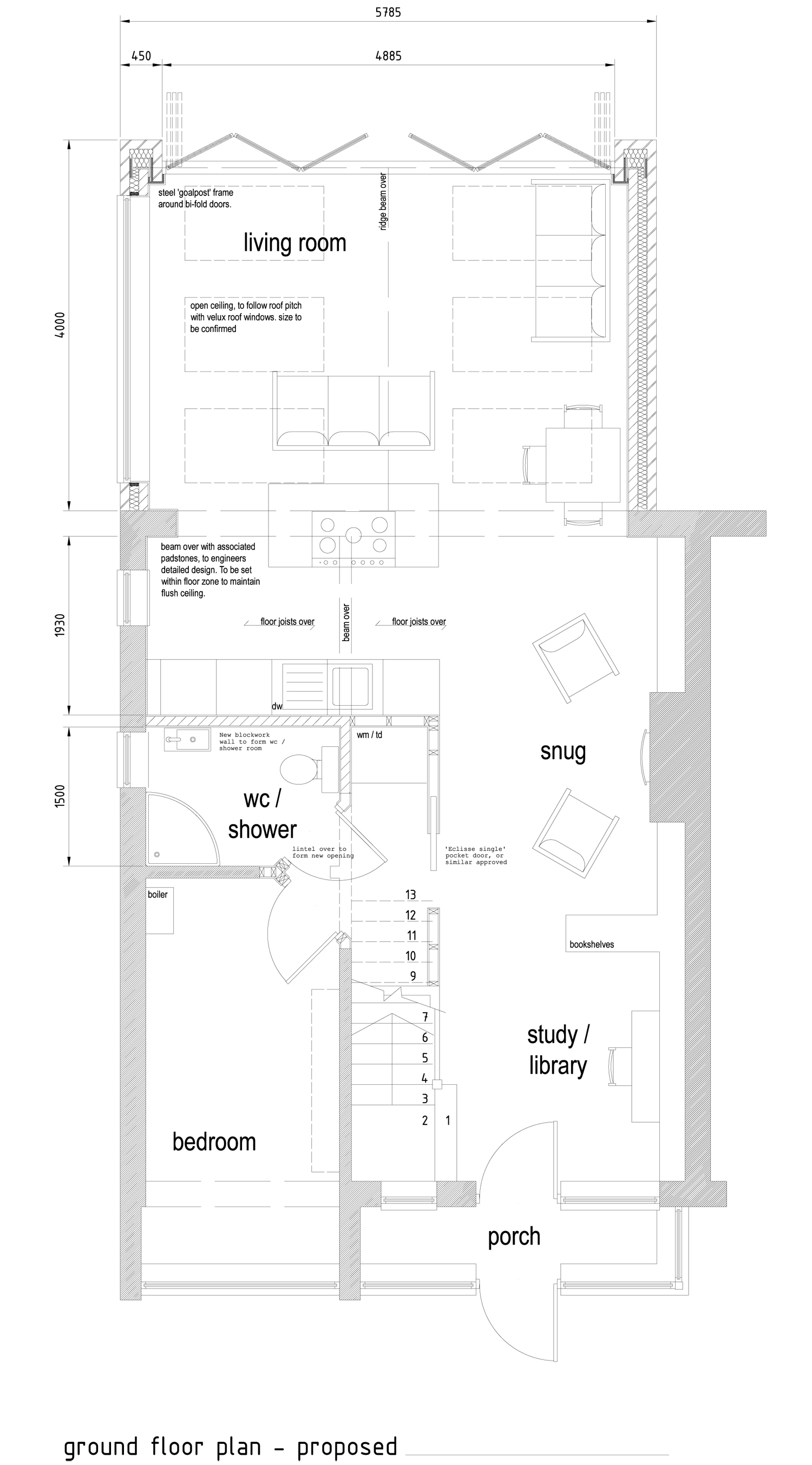 Reconfigured internal house layout