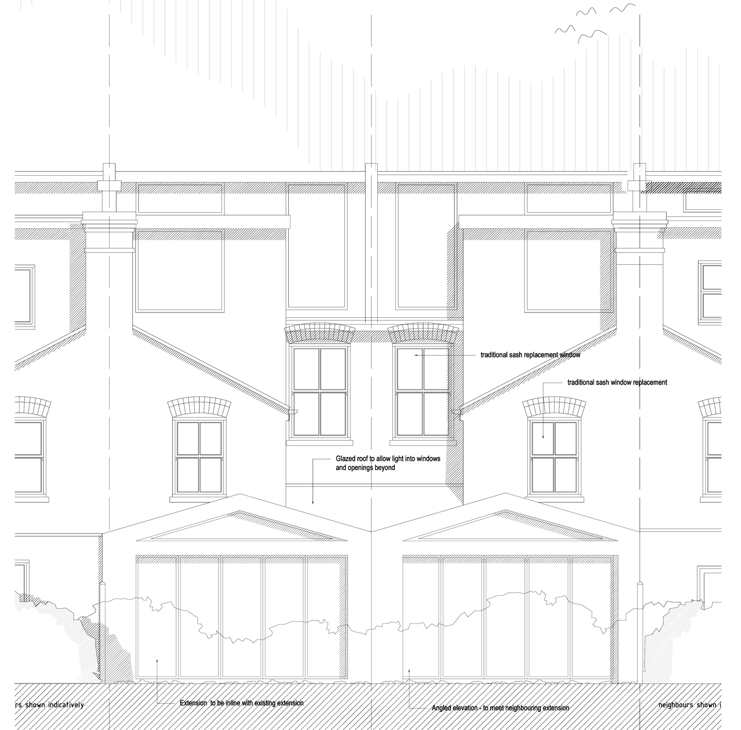 Rear elevation with proposed single storey extension