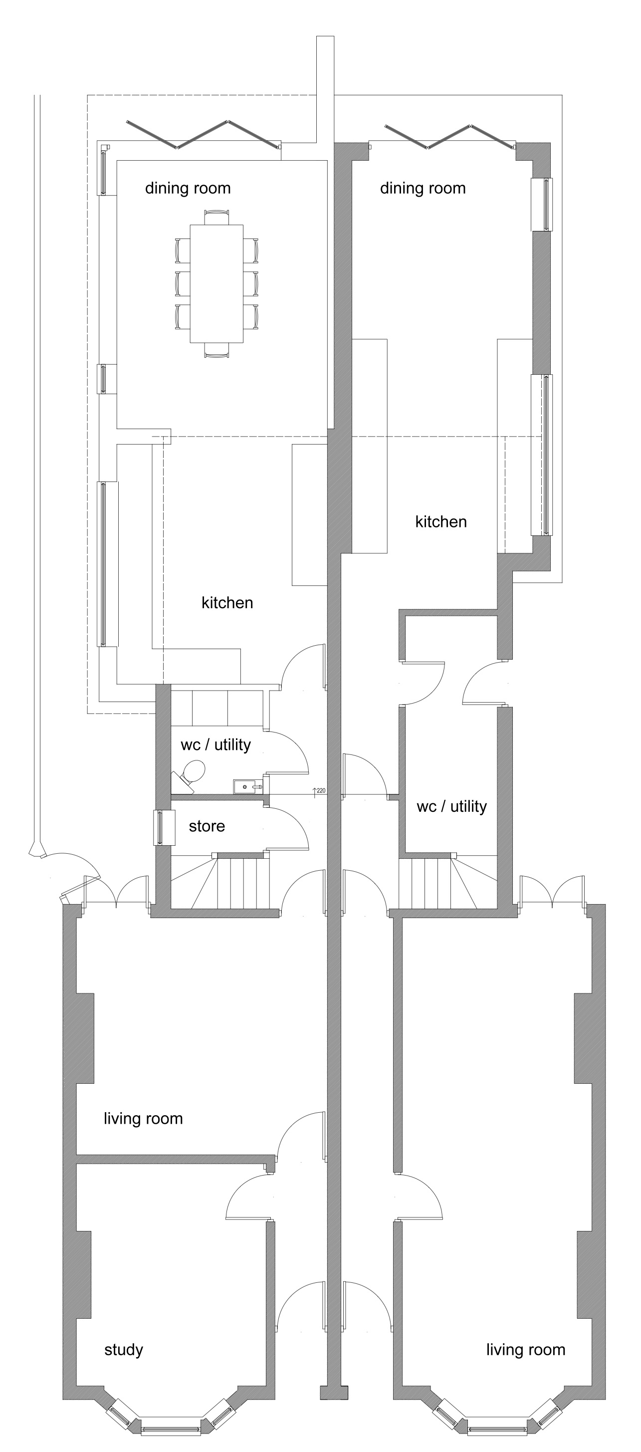 As Proposed : Victorian Semi detached single storey rear extension and internal reconfiguration