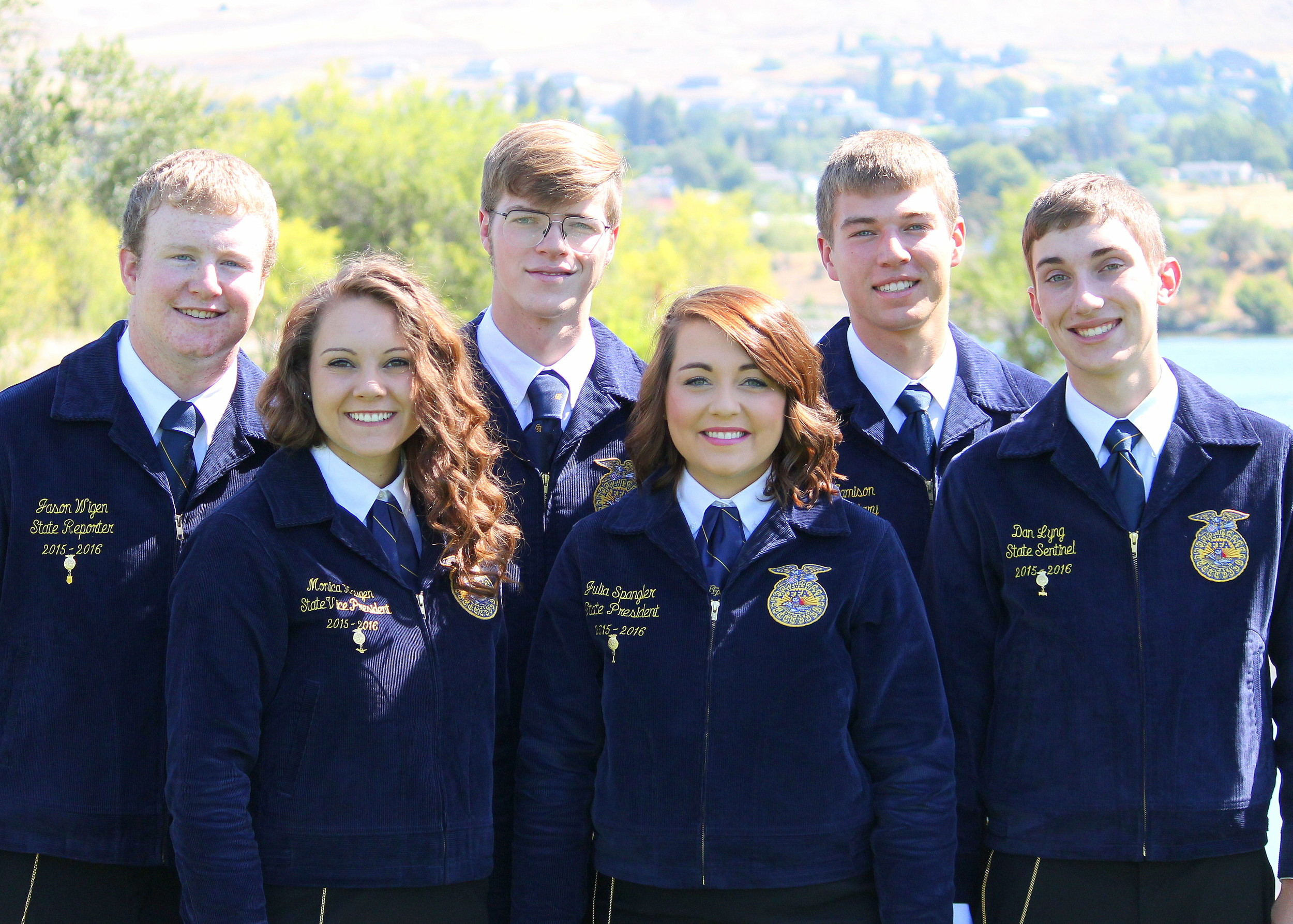 The 2015-2016 Washington FFA State Officers from left to right: Reporter Jason Wigen, Vice President Monica Haugen, Treasurer Dallas Tyus, President Julia Spangler, Secretary Mitch Jamison, Sentinel Dan Lyng.