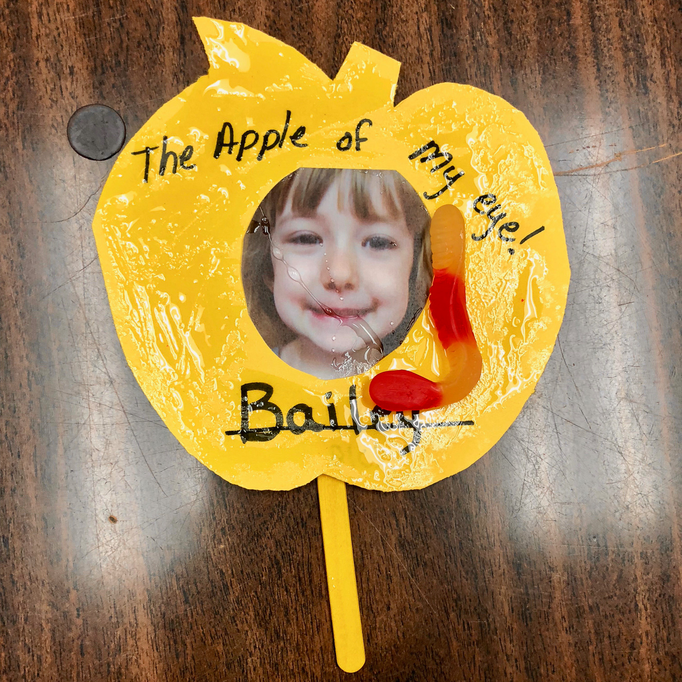 Bailey's craft project. It was quite sticky.