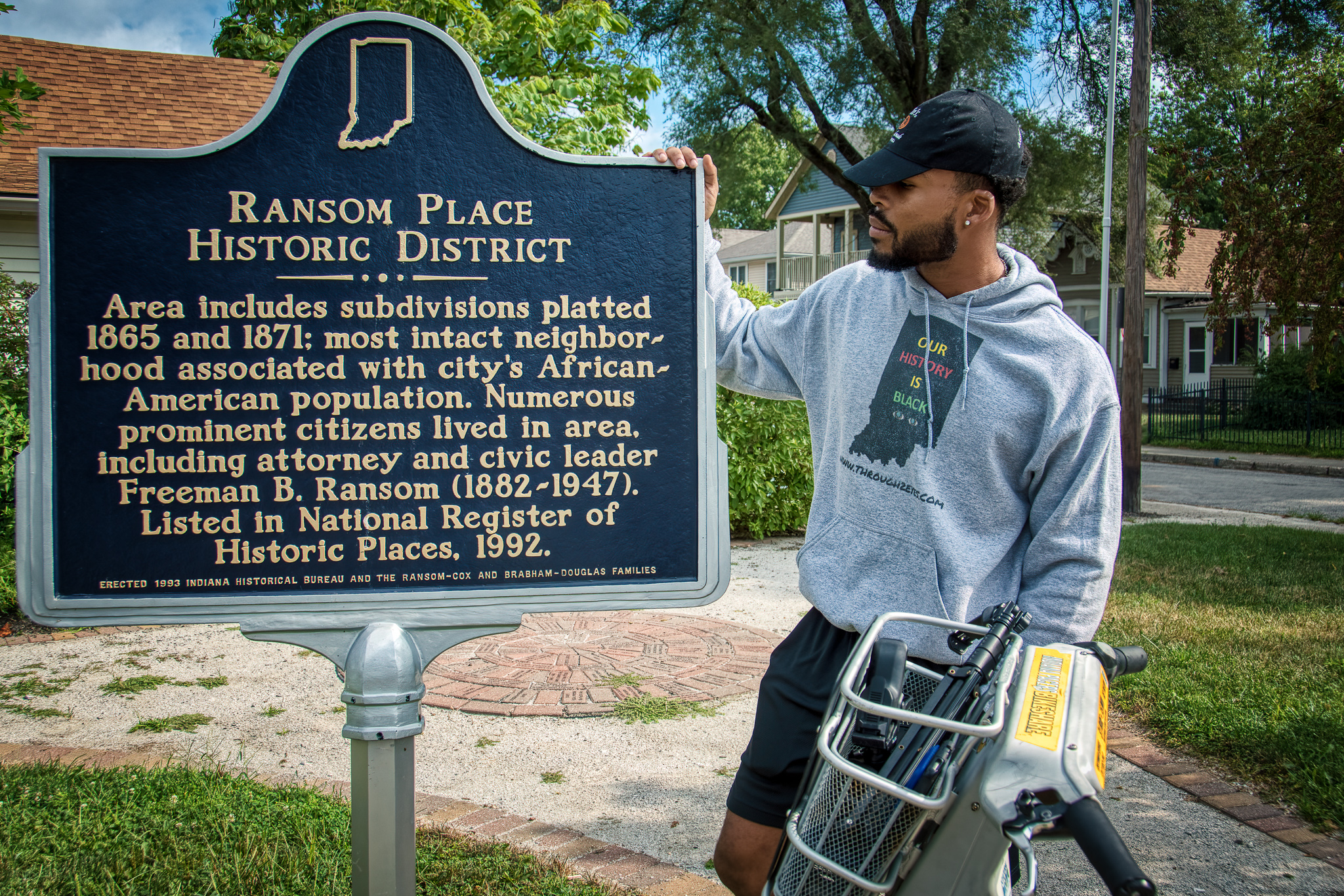 Sampson, at the Ransom Place Historic District plaque.